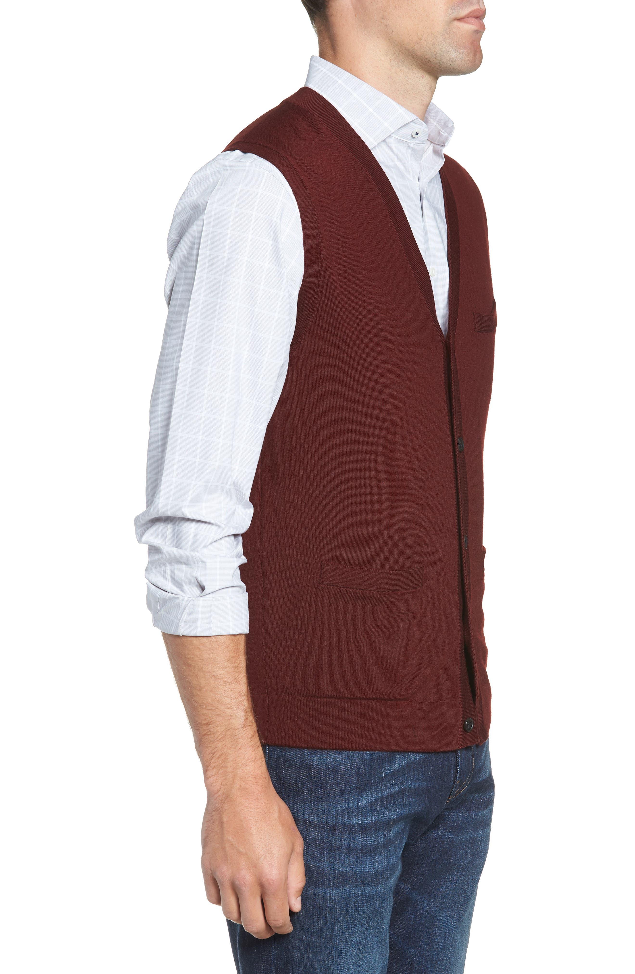 Merino Button Front Sweater Vest,                             Alternate thumbnail 3, color,                             Burgundy Royale