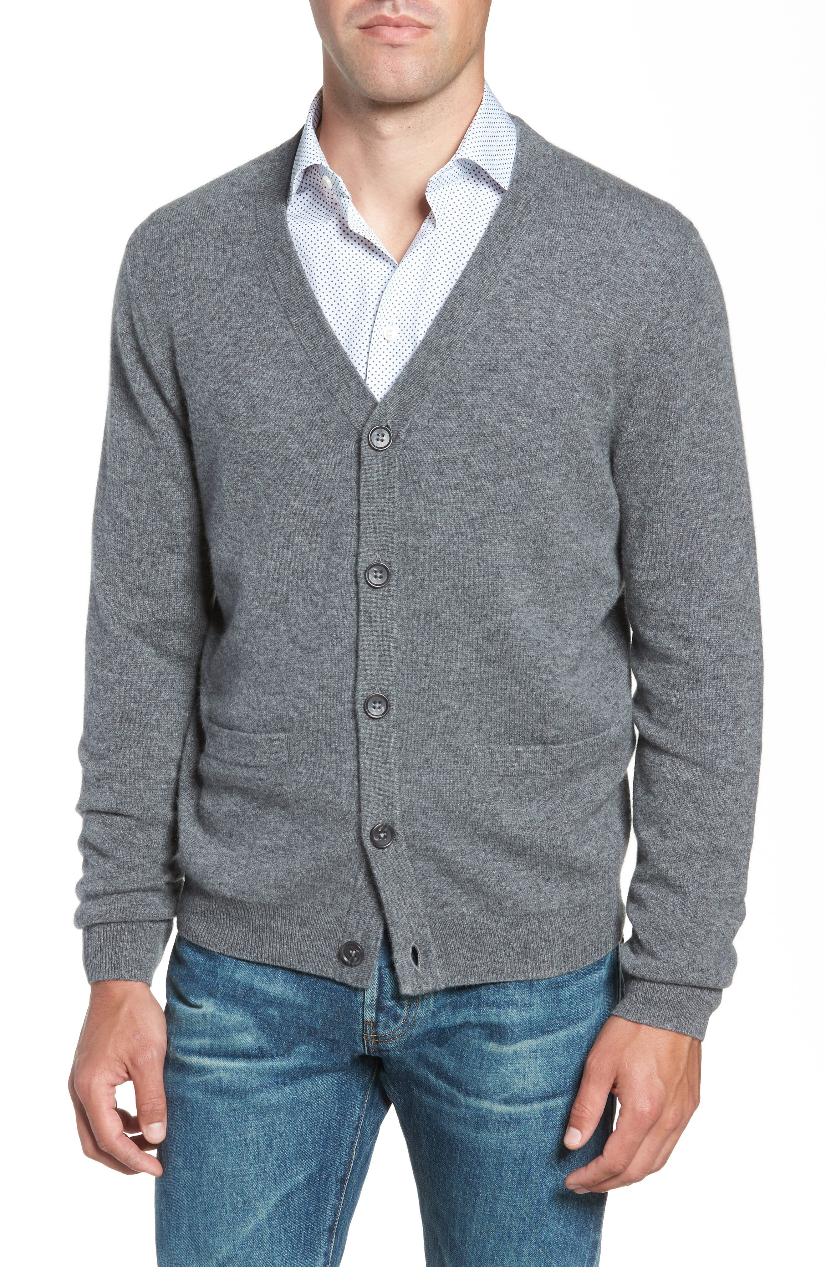 Cashmere Button Front Cardigan,                             Alternate thumbnail 4, color,                             Grey Filigree