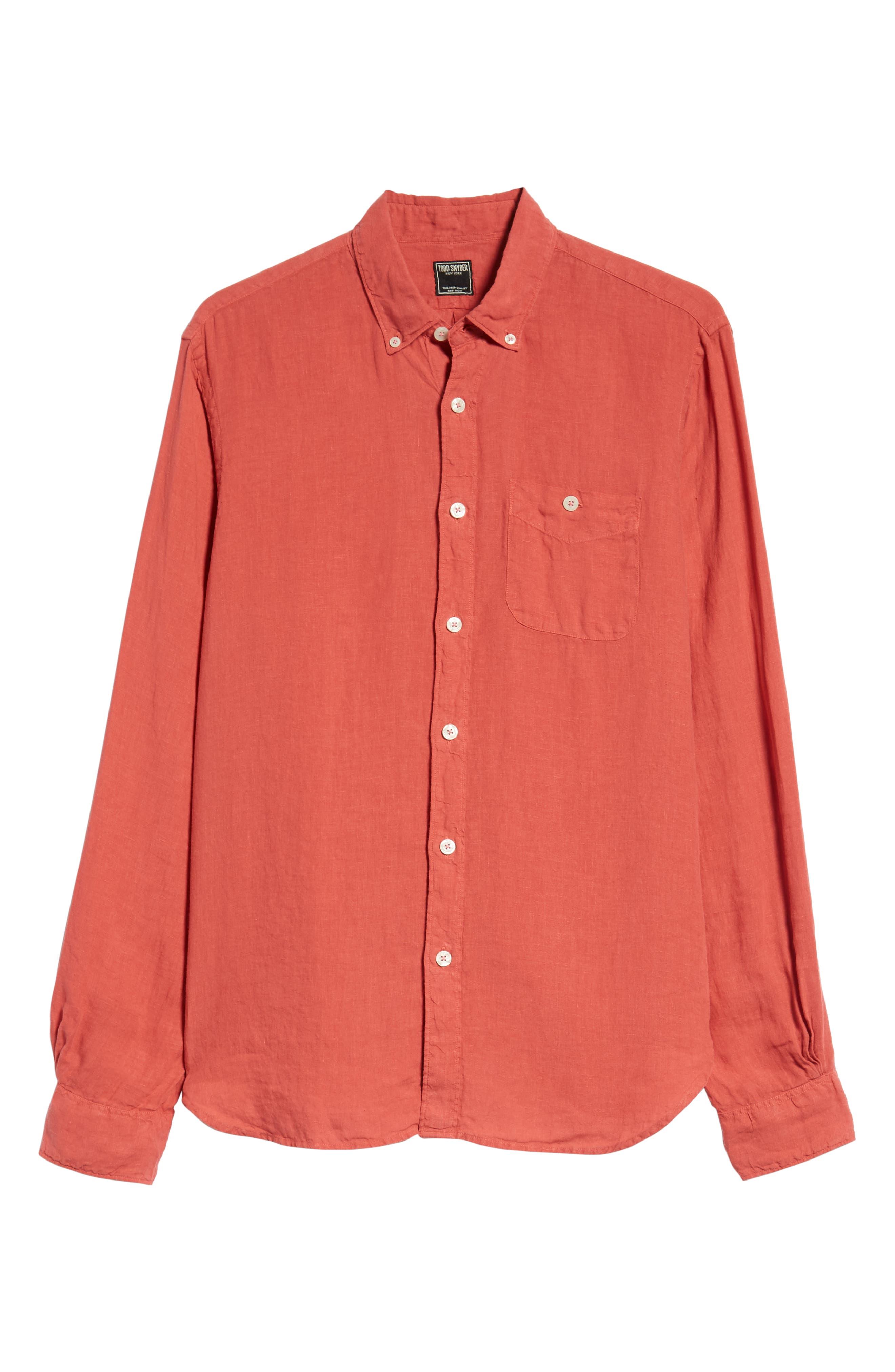 Regular Fit Linen Sport Shirt,                             Alternate thumbnail 5, color,                             Bowery Red