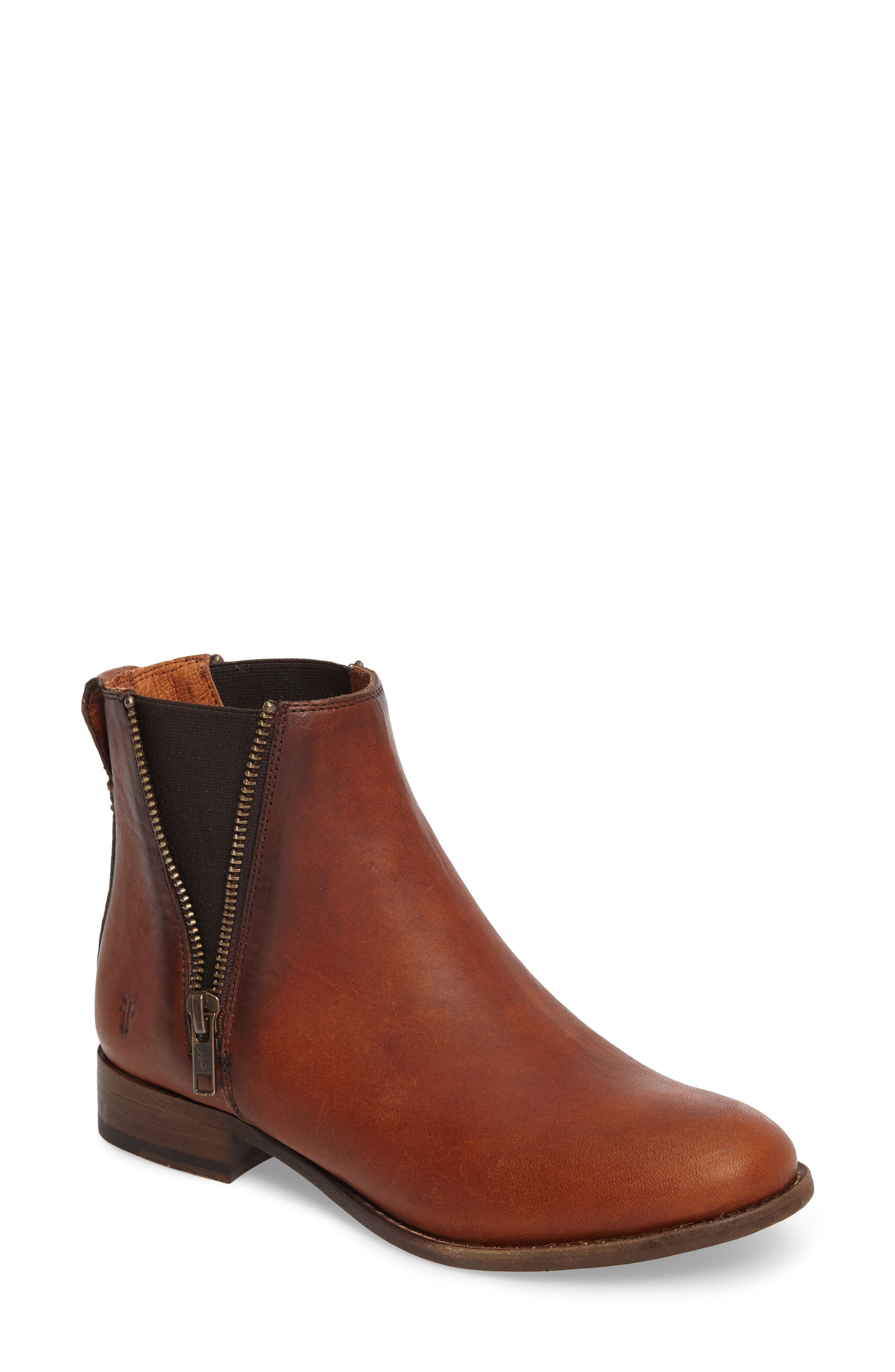 Carly Chelsea Boot,                         Main,                         color, Cognac Leather