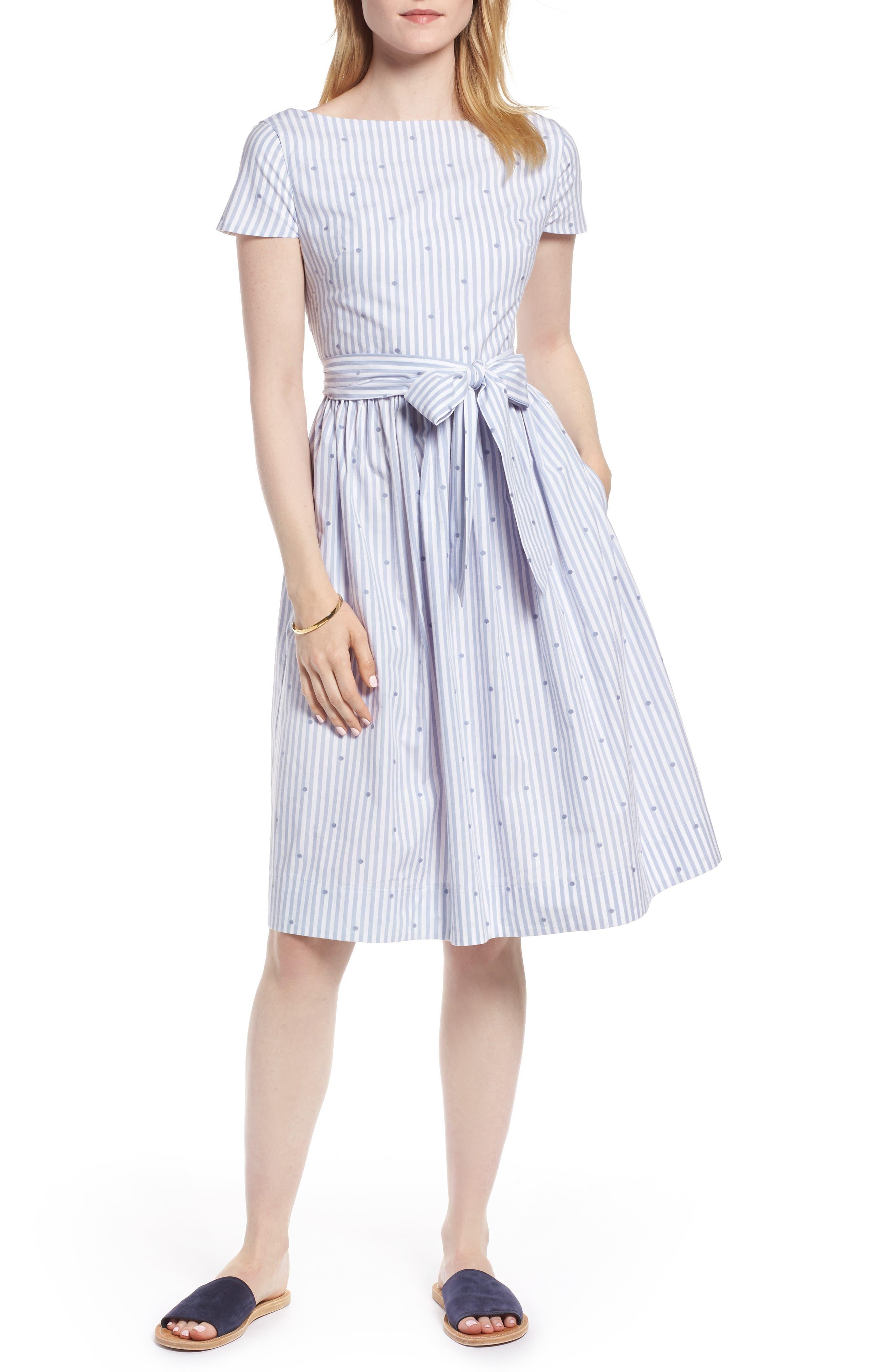 Stripe & Dot Cotton Dress,                             Main thumbnail 1, color,                             Eve Dot Stripe