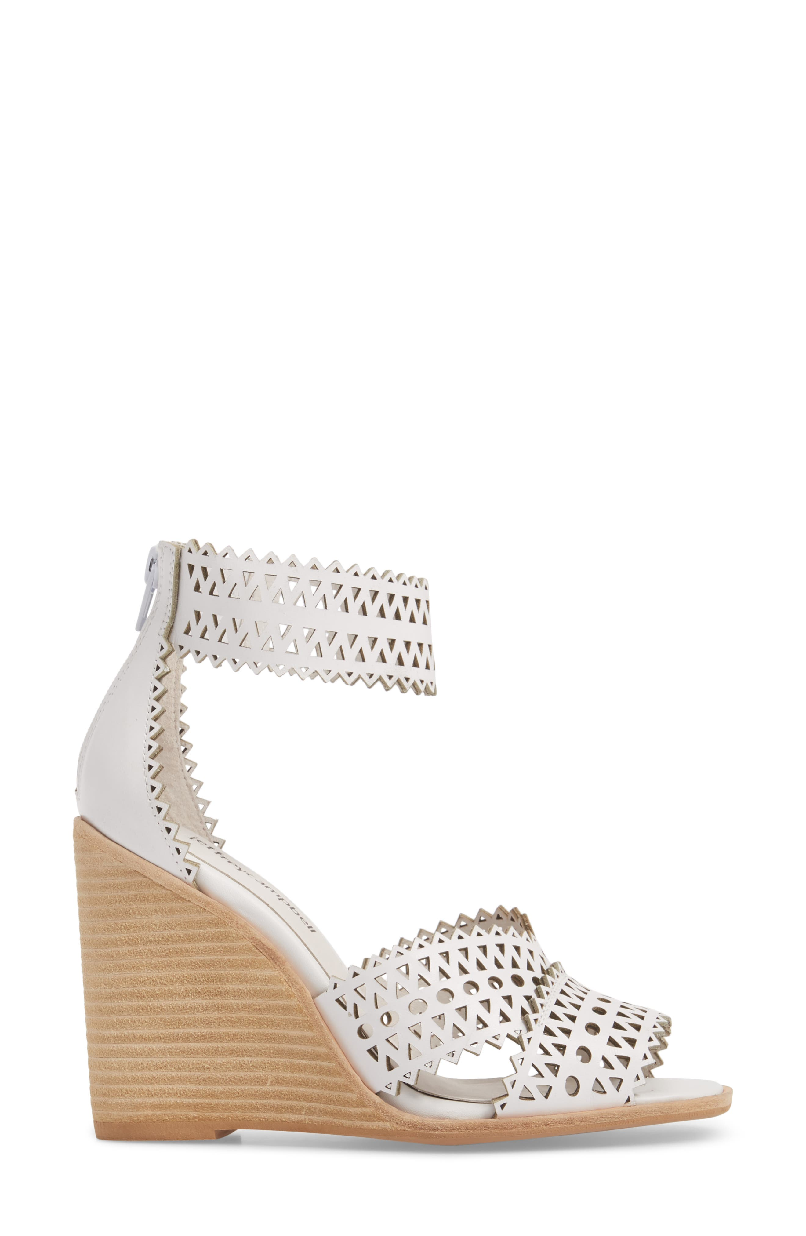 Besante Perforated Wedge Sandal,                             Alternate thumbnail 5, color,                             White