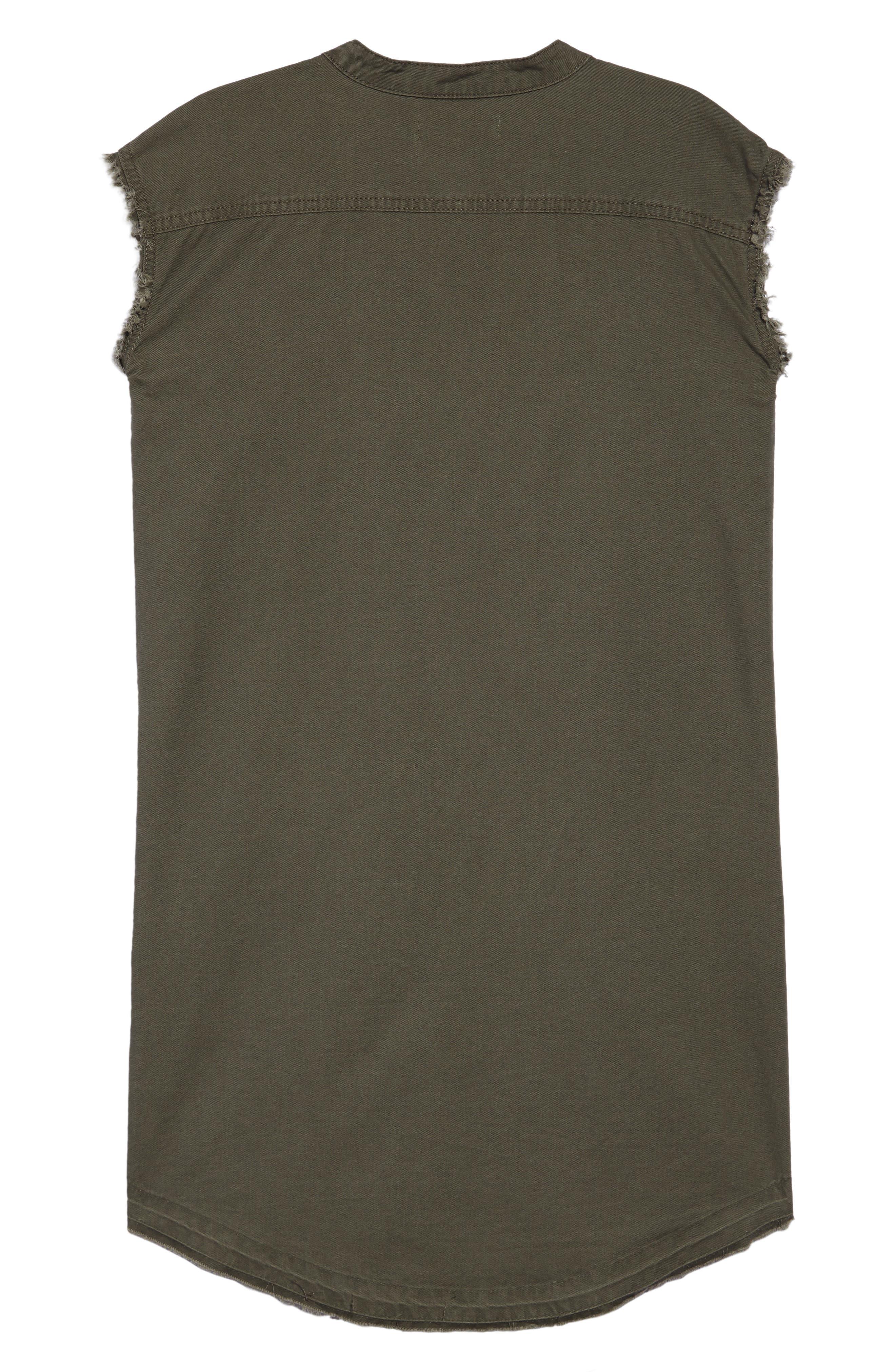 Frayed Hem Sleeveless Shirtdress,                             Alternate thumbnail 2, color,                             Olive Sarma