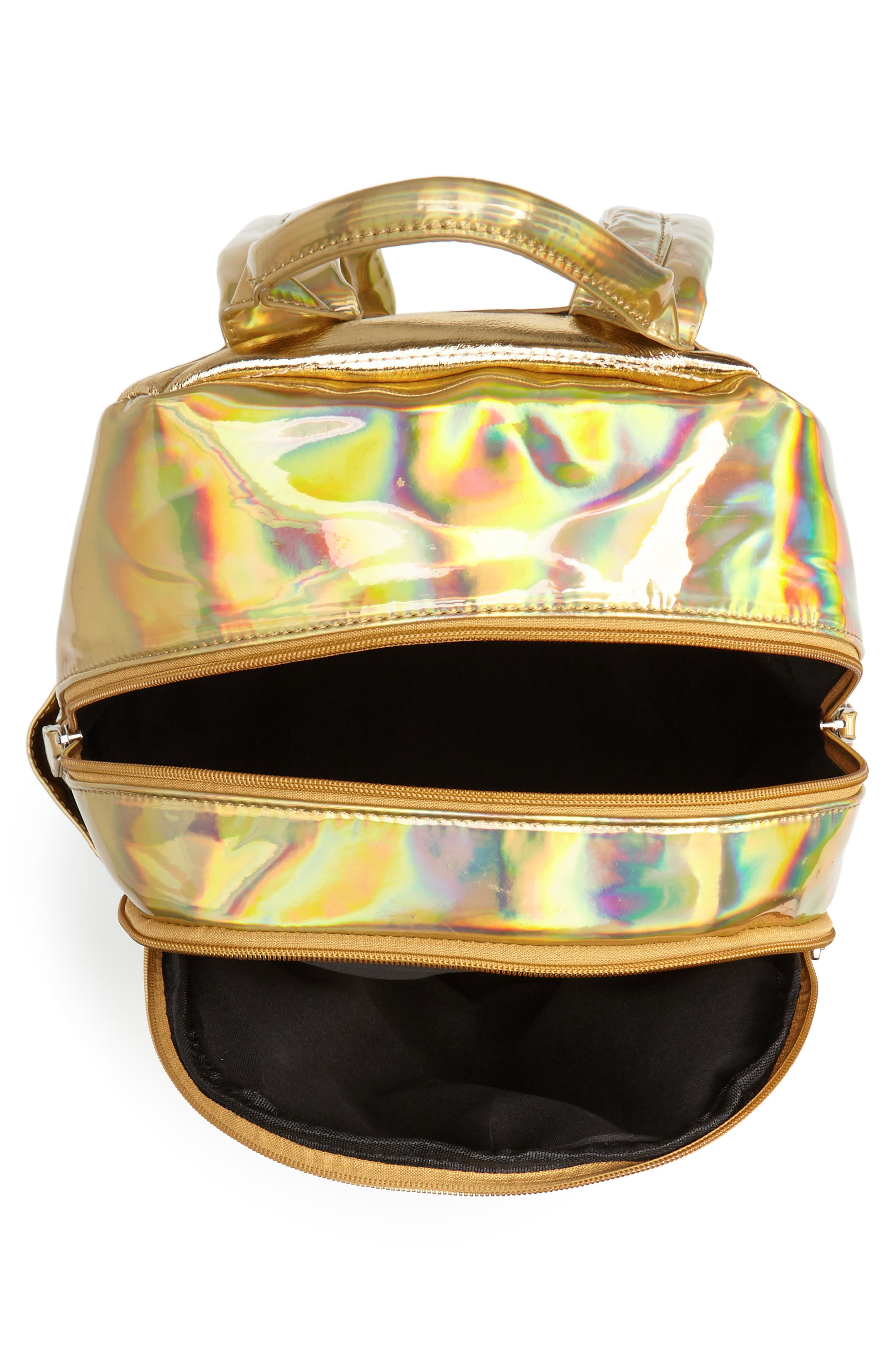 Quilted Metallic Holographic Backpack,                             Alternate thumbnail 4, color,                             Gold
