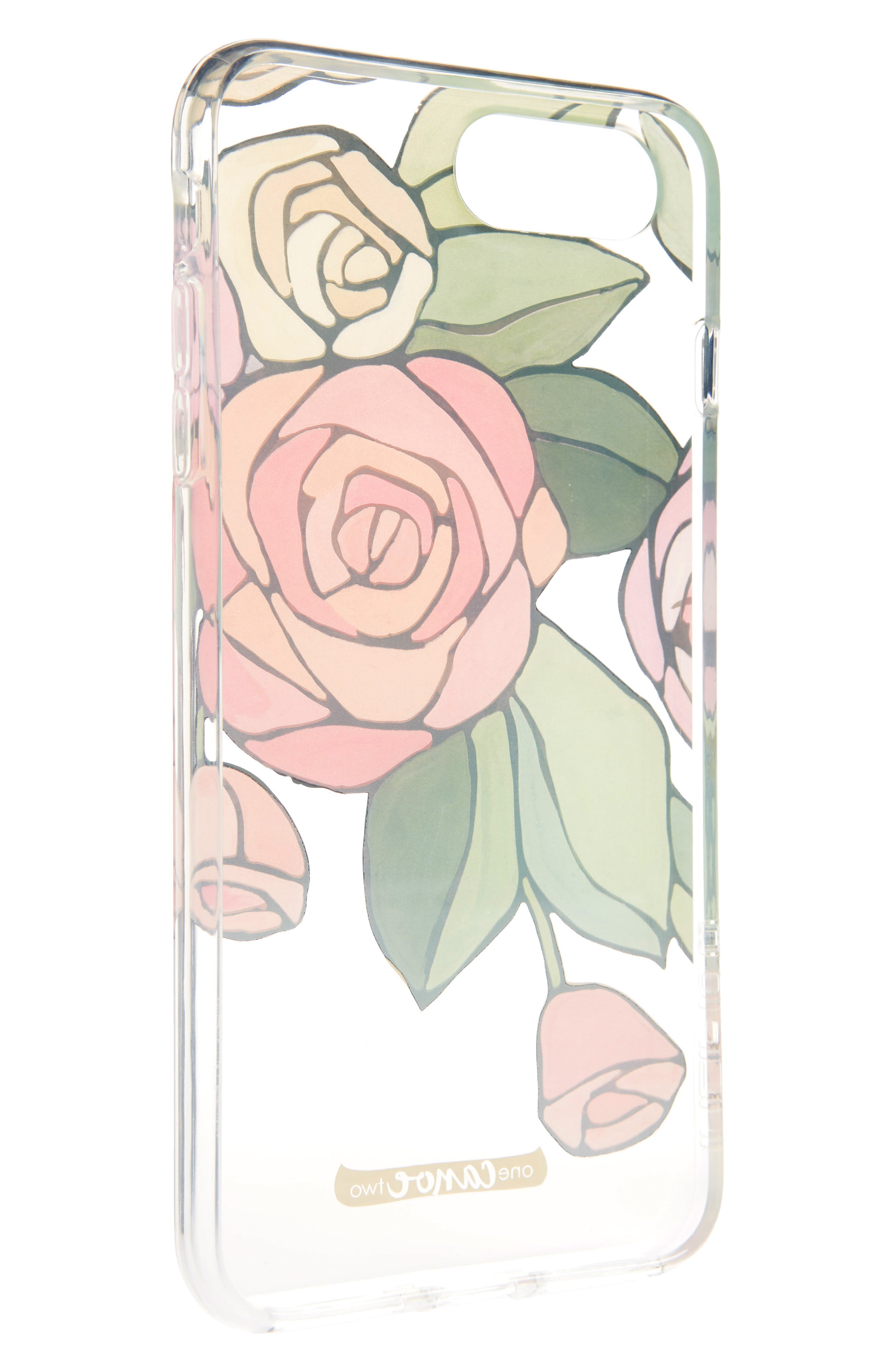 One Canoe Two Roses iPhone 7/8 & 7/8 Plus Case,                             Alternate thumbnail 2, color,                             Pink/ Clear Multi