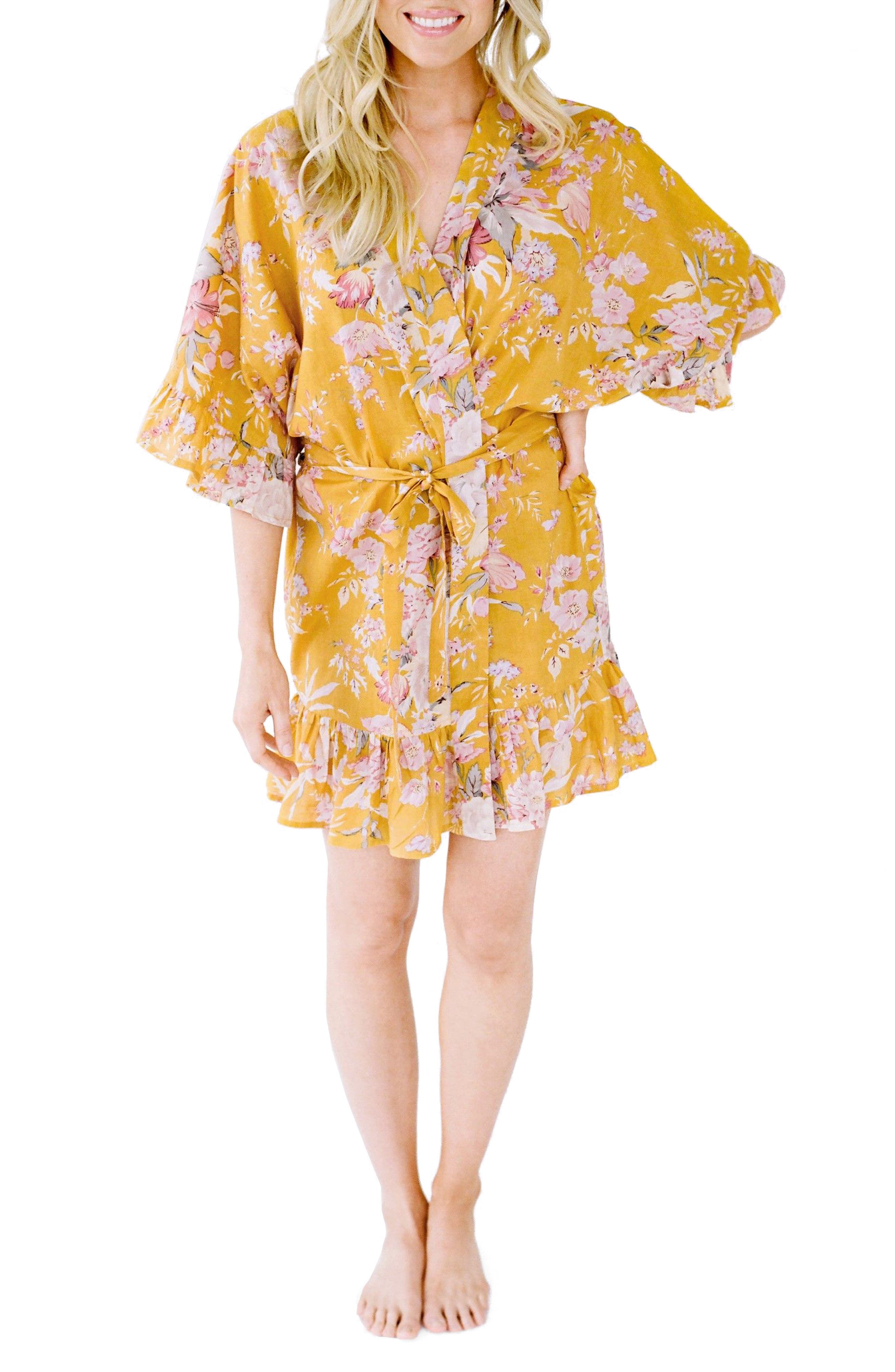 Flutter Robe,                             Main thumbnail 1, color,                             Marigold