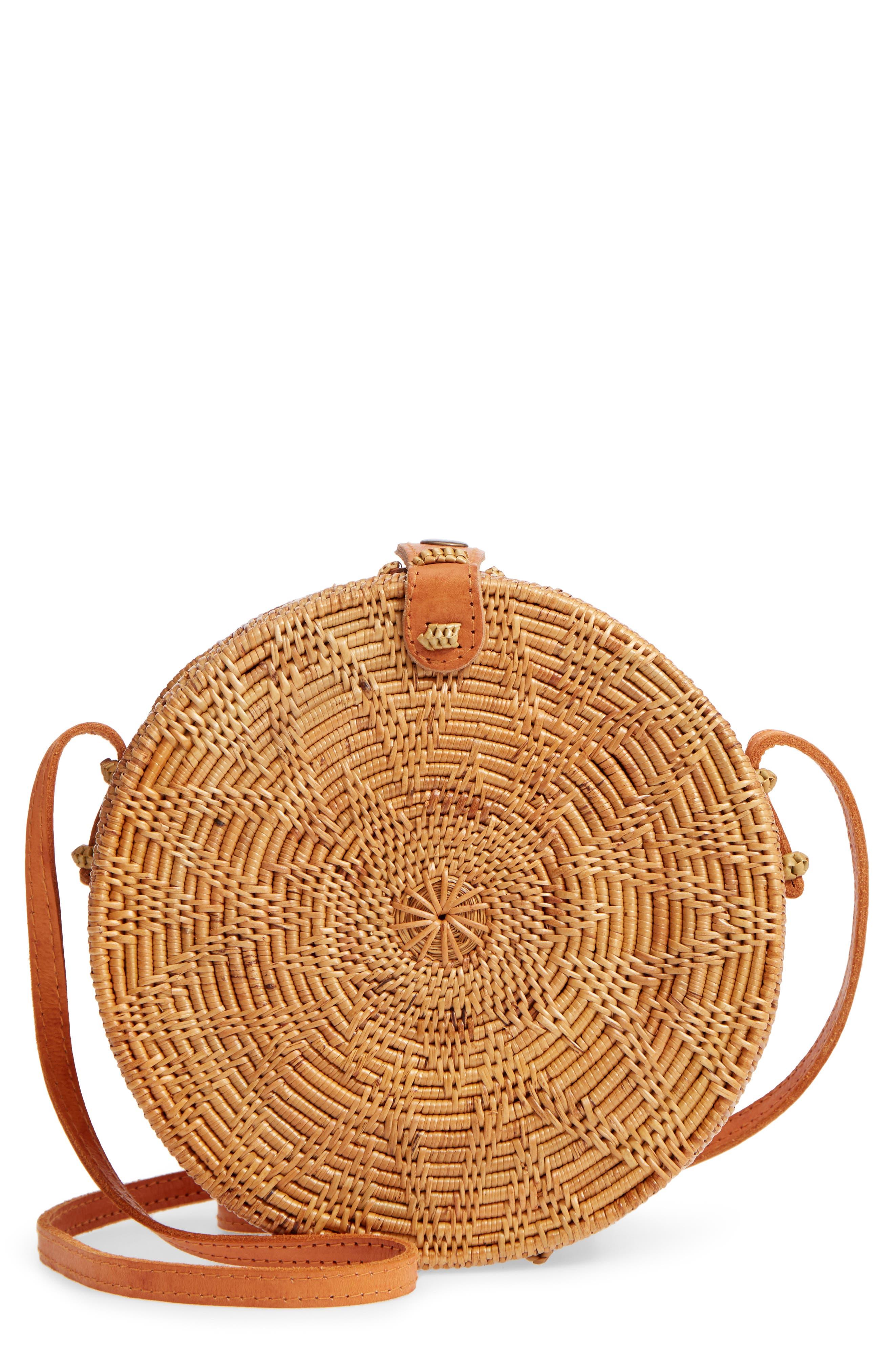 Woven Rattan Circle Basket Crossbody,                             Main thumbnail 1, color,                             Tan