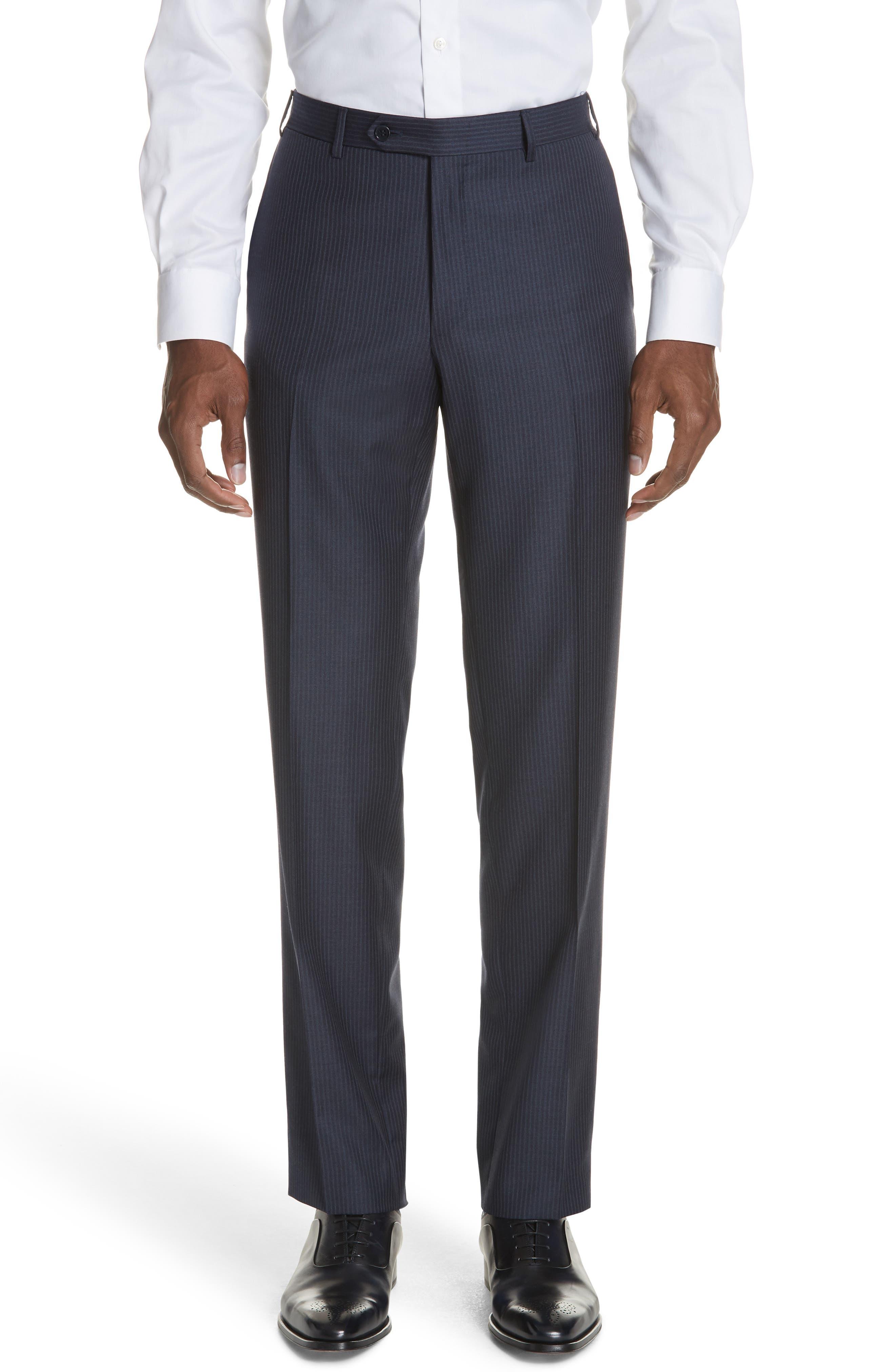 Siena Classic Fit Stripe Wool Suit,                             Alternate thumbnail 6, color,                             Blue