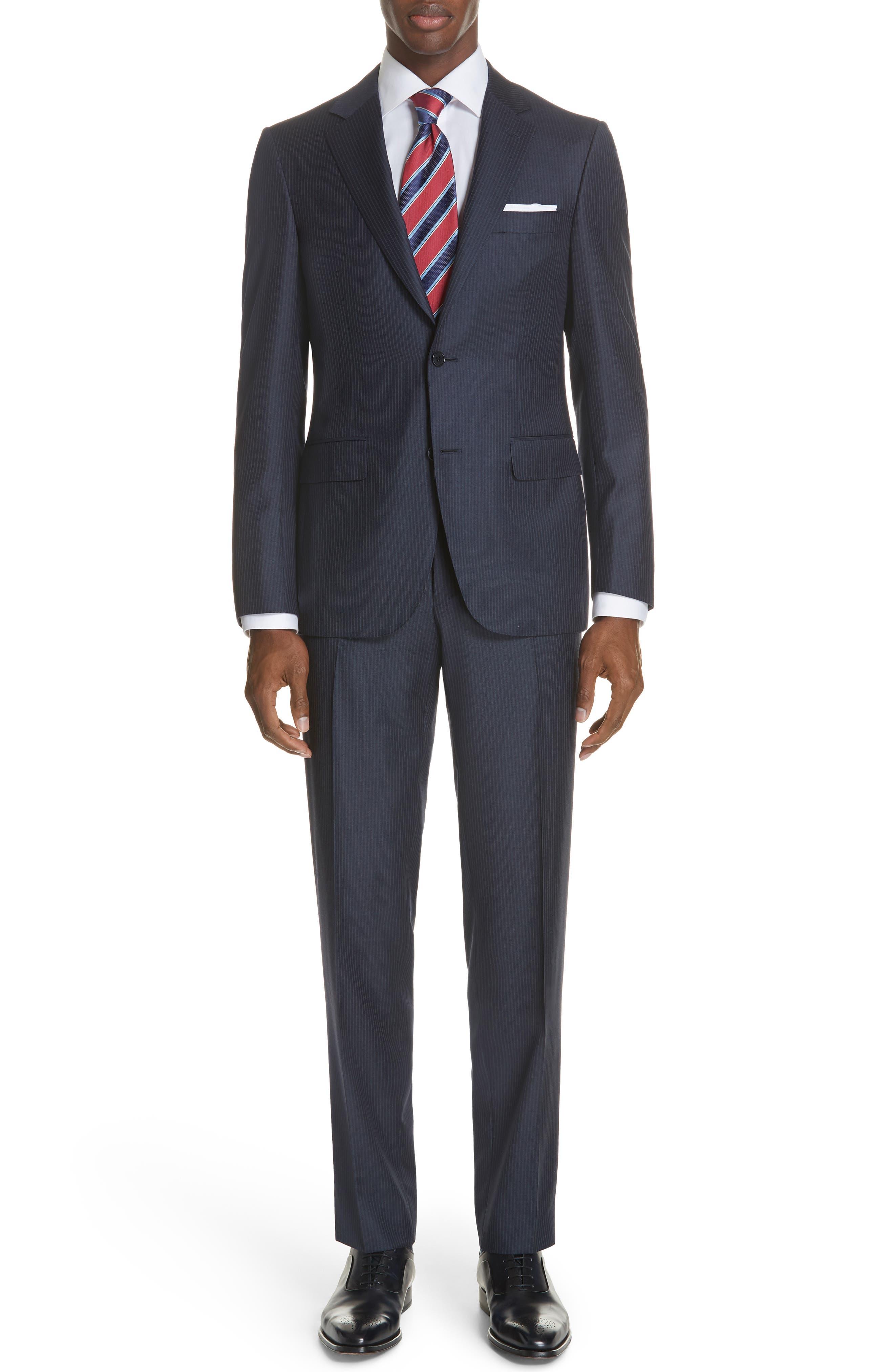 Siena Classic Fit Stripe Wool Suit,                         Main,                         color, Blue