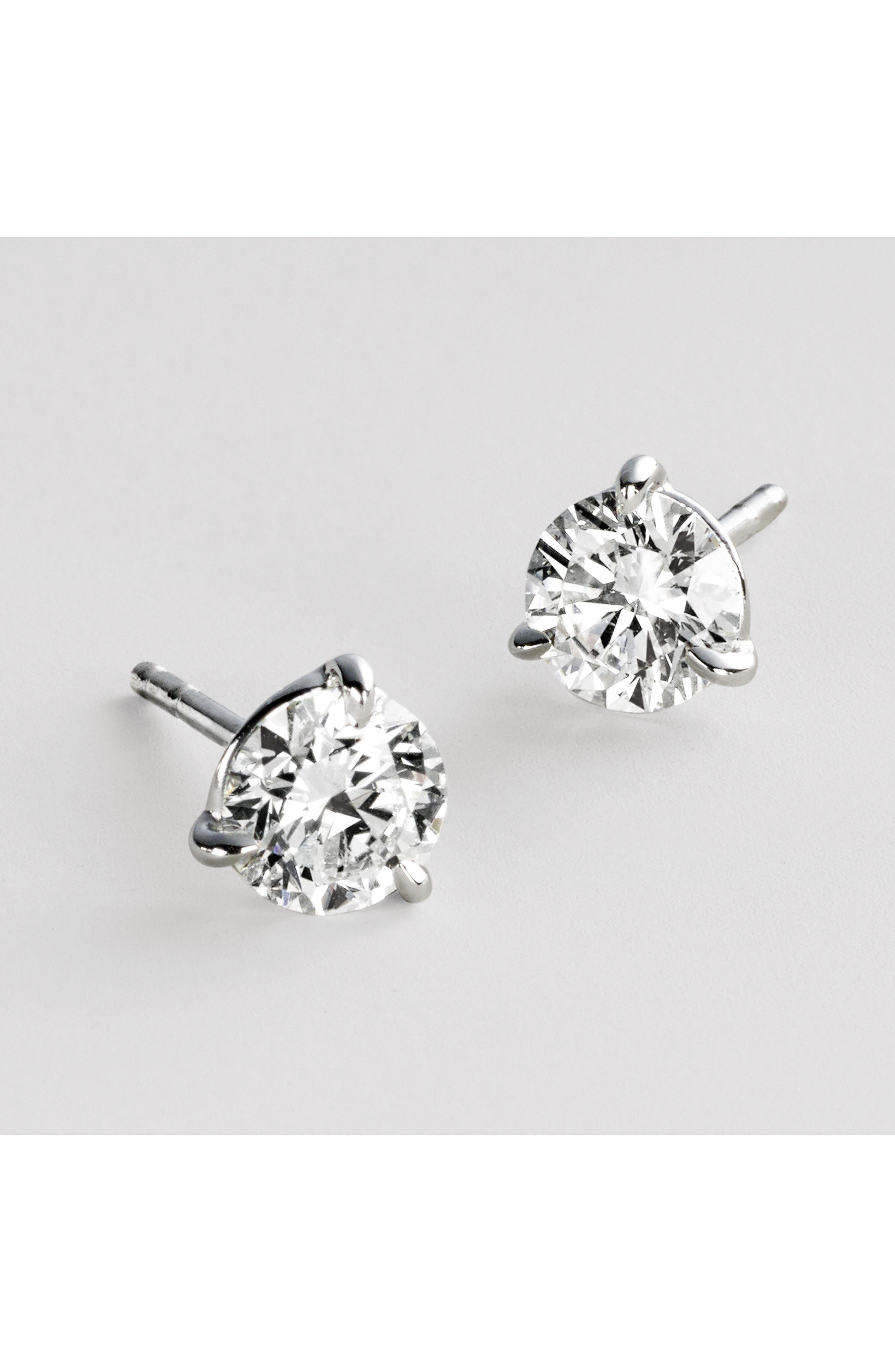 1.50ct tw Diamond & Platinum Stud Earrings,                             Alternate thumbnail 3, color,