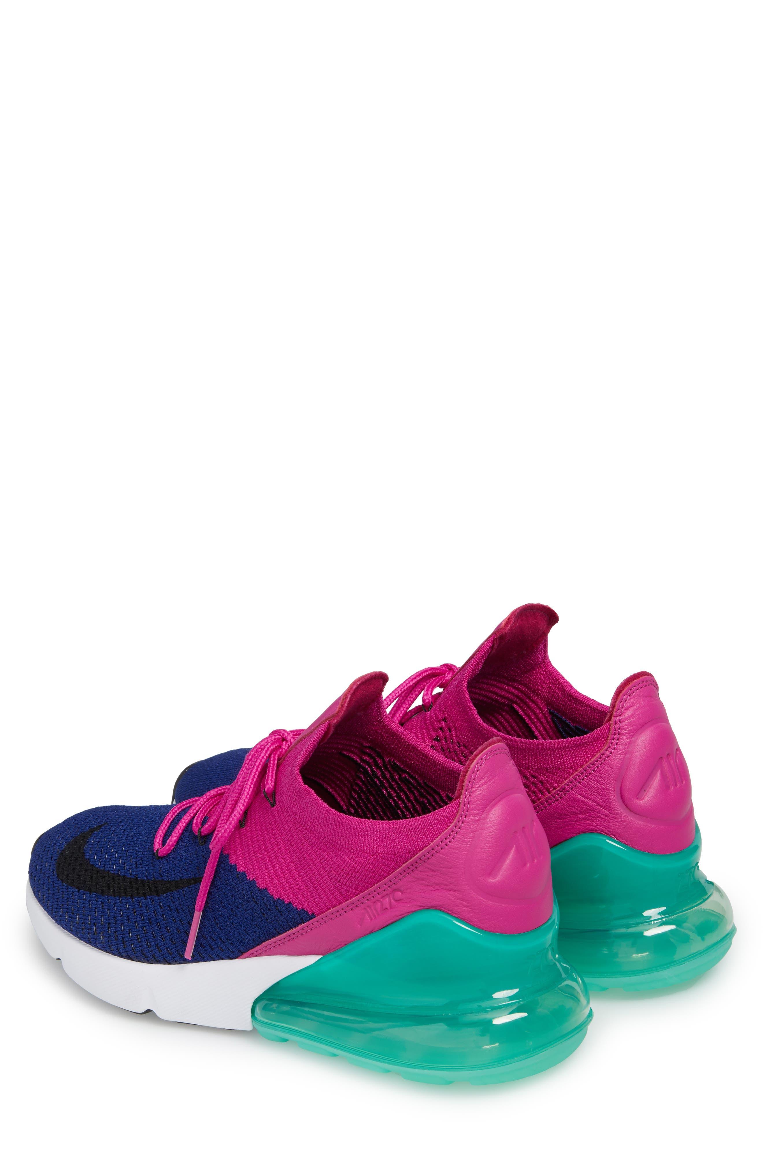 Air Max 270 Flyknit Sneaker,                             Alternate thumbnail 2, color,                             Deep Royal Blue/ Black