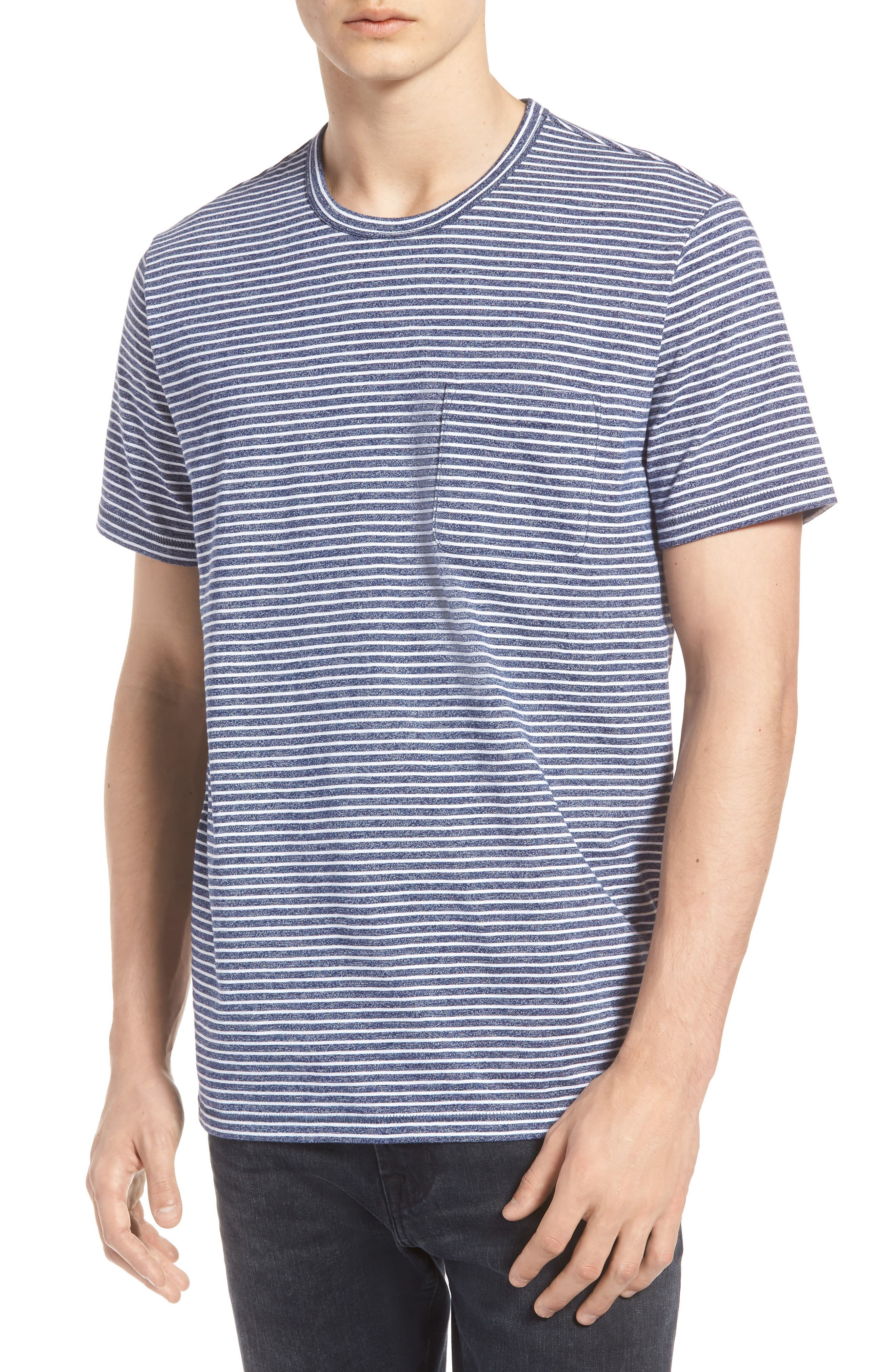 Yarn Dyed Stripe T-Shirt,                             Main thumbnail 1, color,                             Navy Iris Stripe