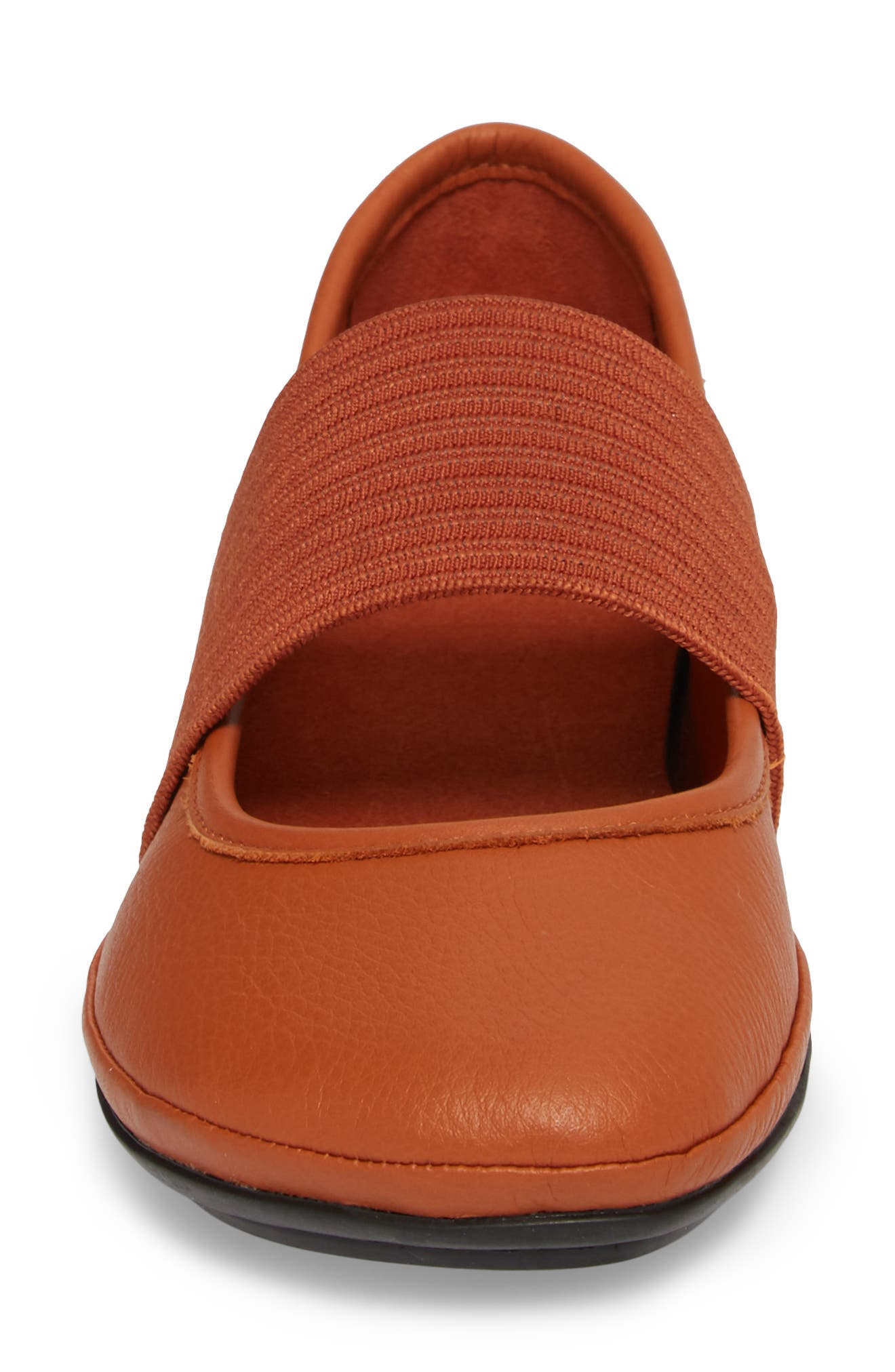 Right Nina Ballet Flat,                             Alternate thumbnail 3, color,                             Rust/Copper Leather