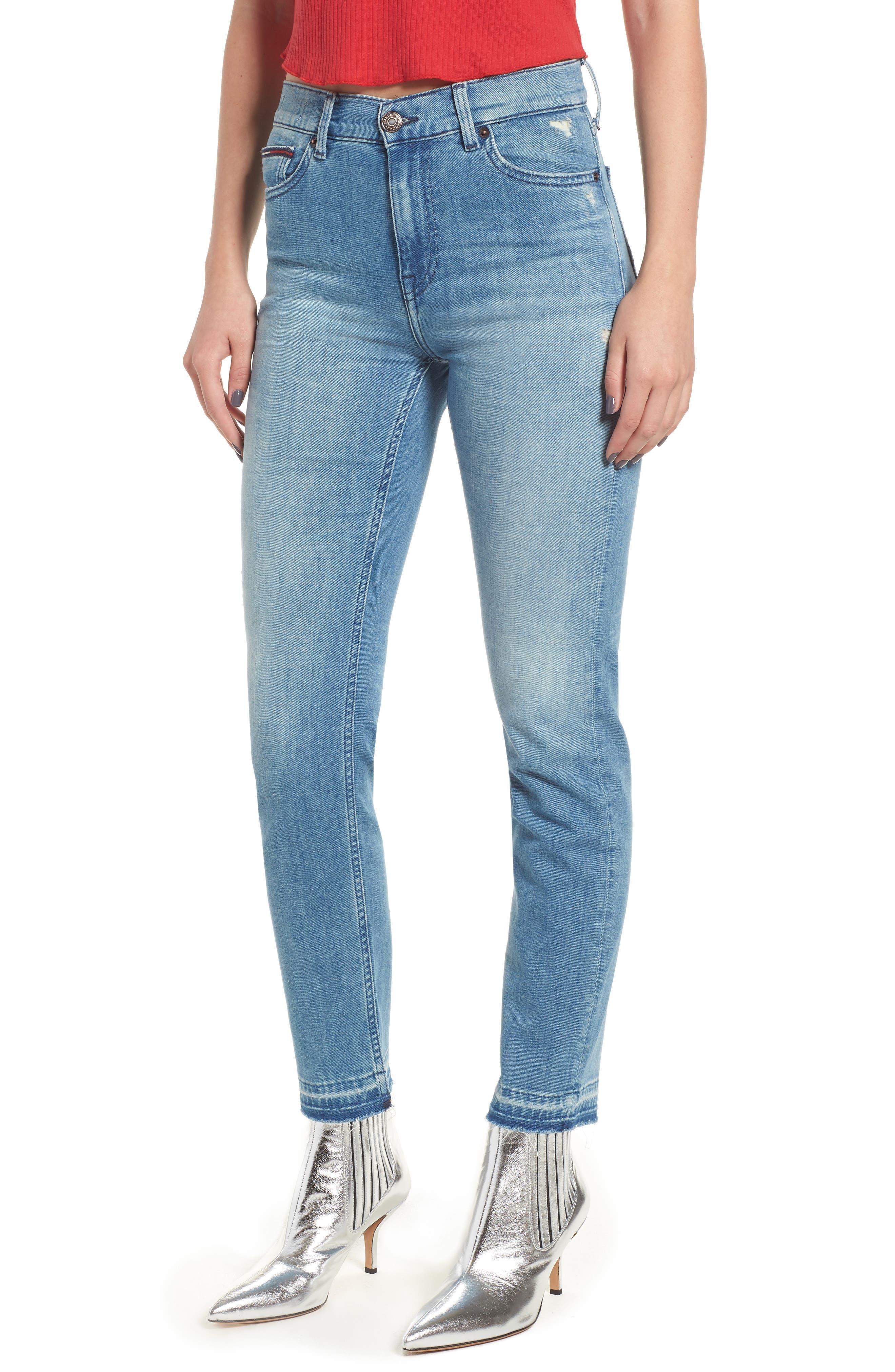 Izzy High Waist Slim Leg Jeans,                             Main thumbnail 1, color,                             Denver Light Blue Comfort