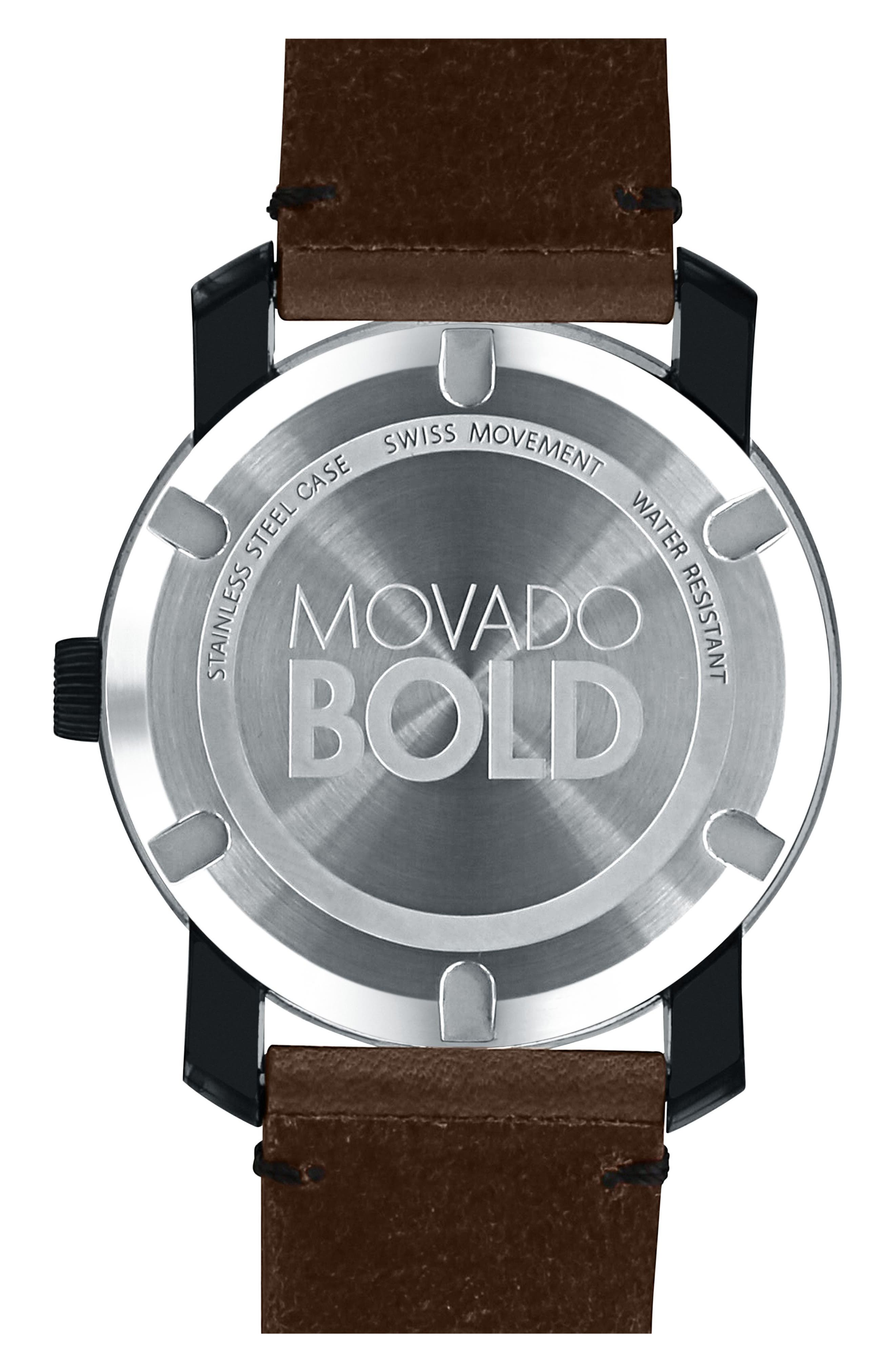'Bold' Leather Strap Watch, 42mm,                             Alternate thumbnail 2, color,                             Chocolate Brown/ Black