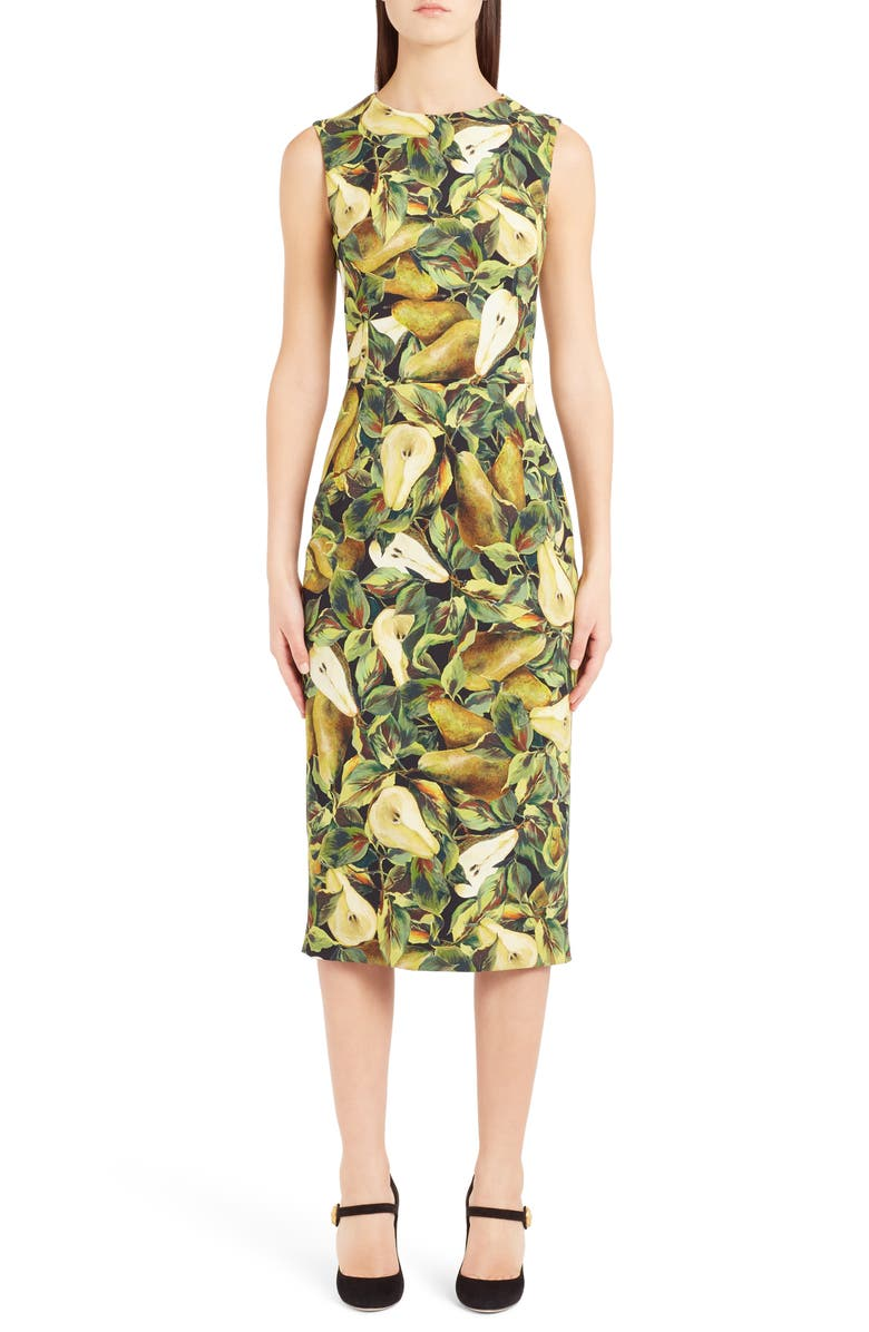 Pear Print Cady Sheath Dress