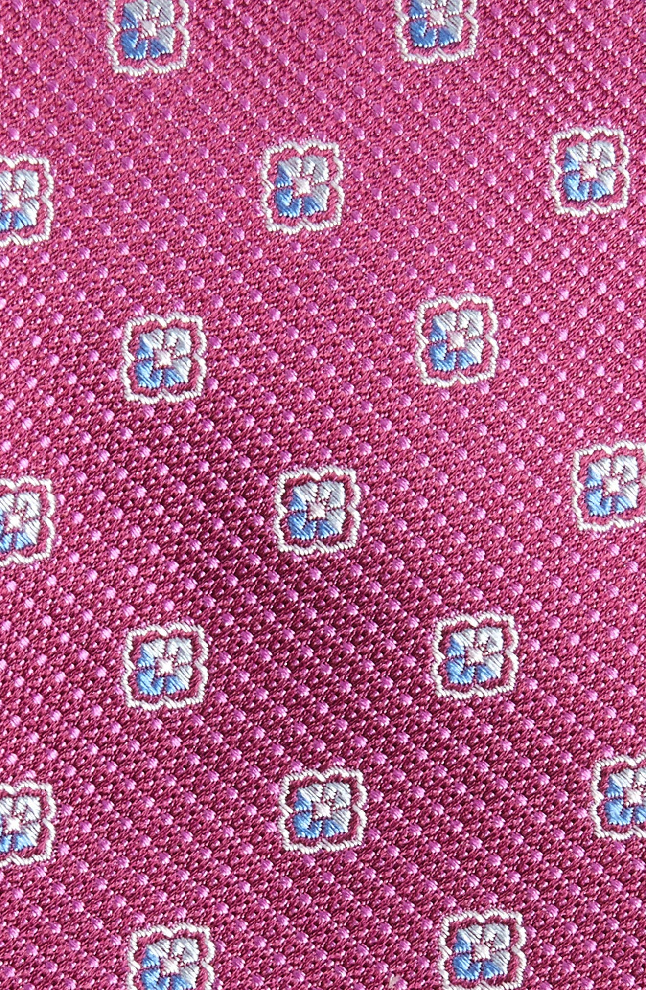 Leary Medallion Silk Tie,                             Alternate thumbnail 2, color,                             Magenta