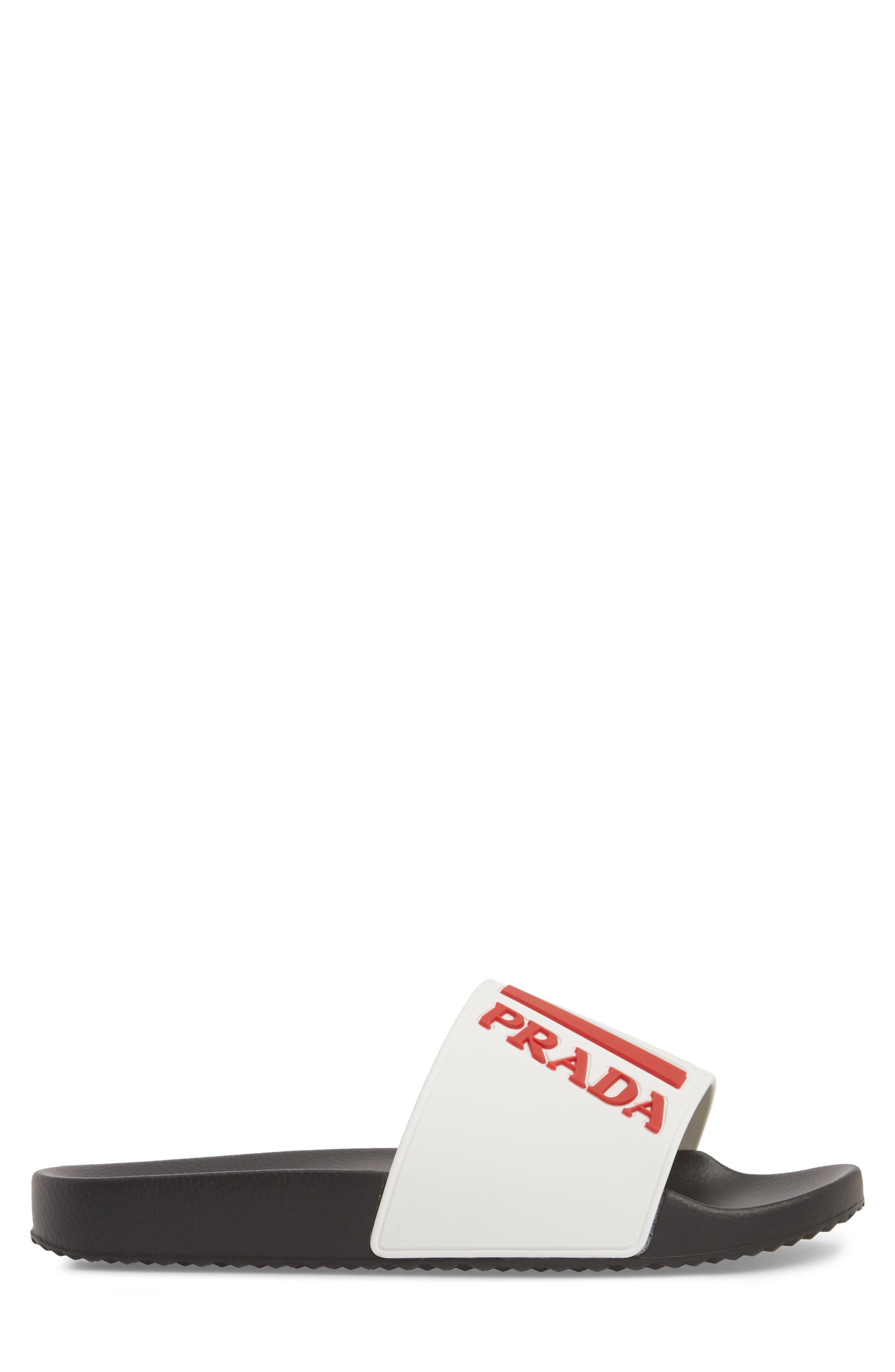 Linea Rossa Logo Slide Sandal,                             Alternate thumbnail 6, color,                             White/ Rosso