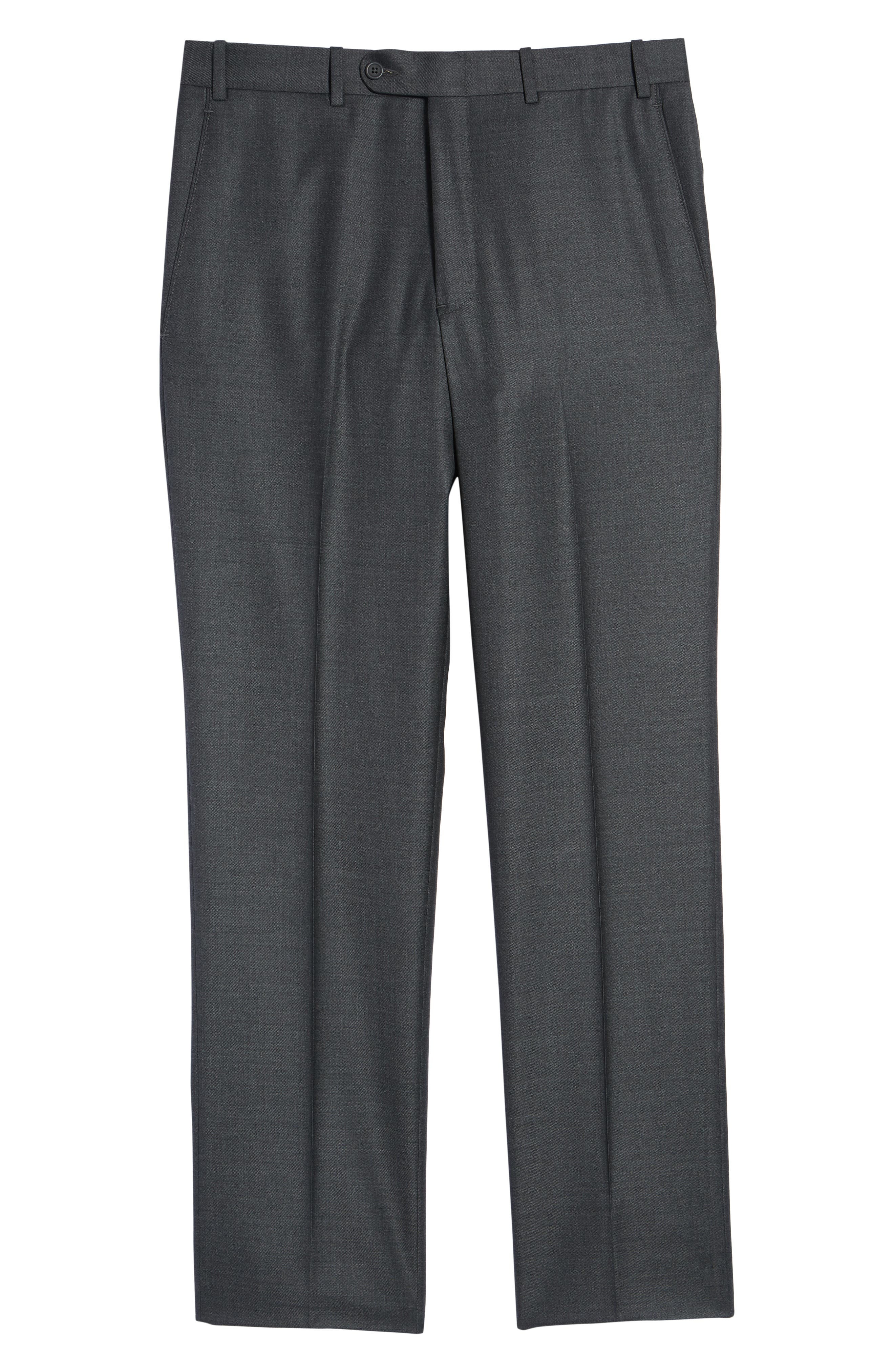 Torino Flat Front Solid Wool Trousers,                             Alternate thumbnail 6, color,                             Charcoal