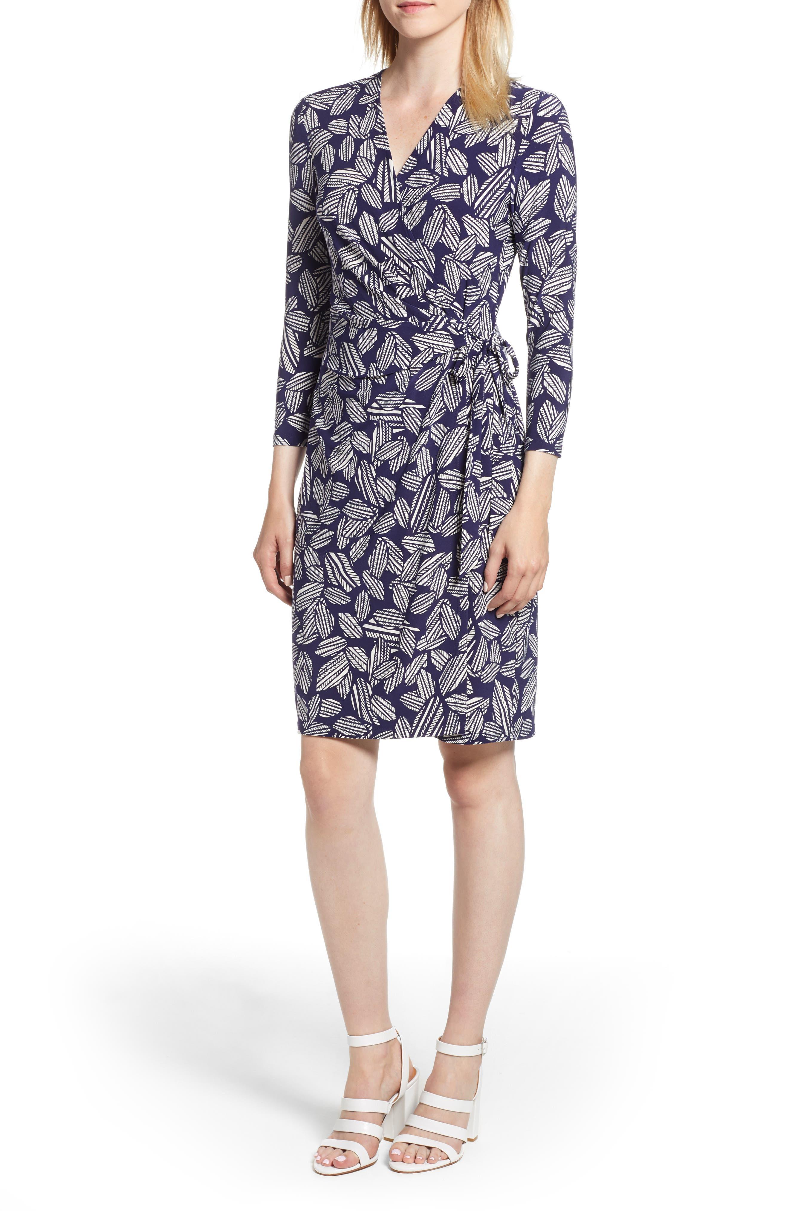 ANNE KLEIN LEAF PRINT FAUX WRAP DRESS