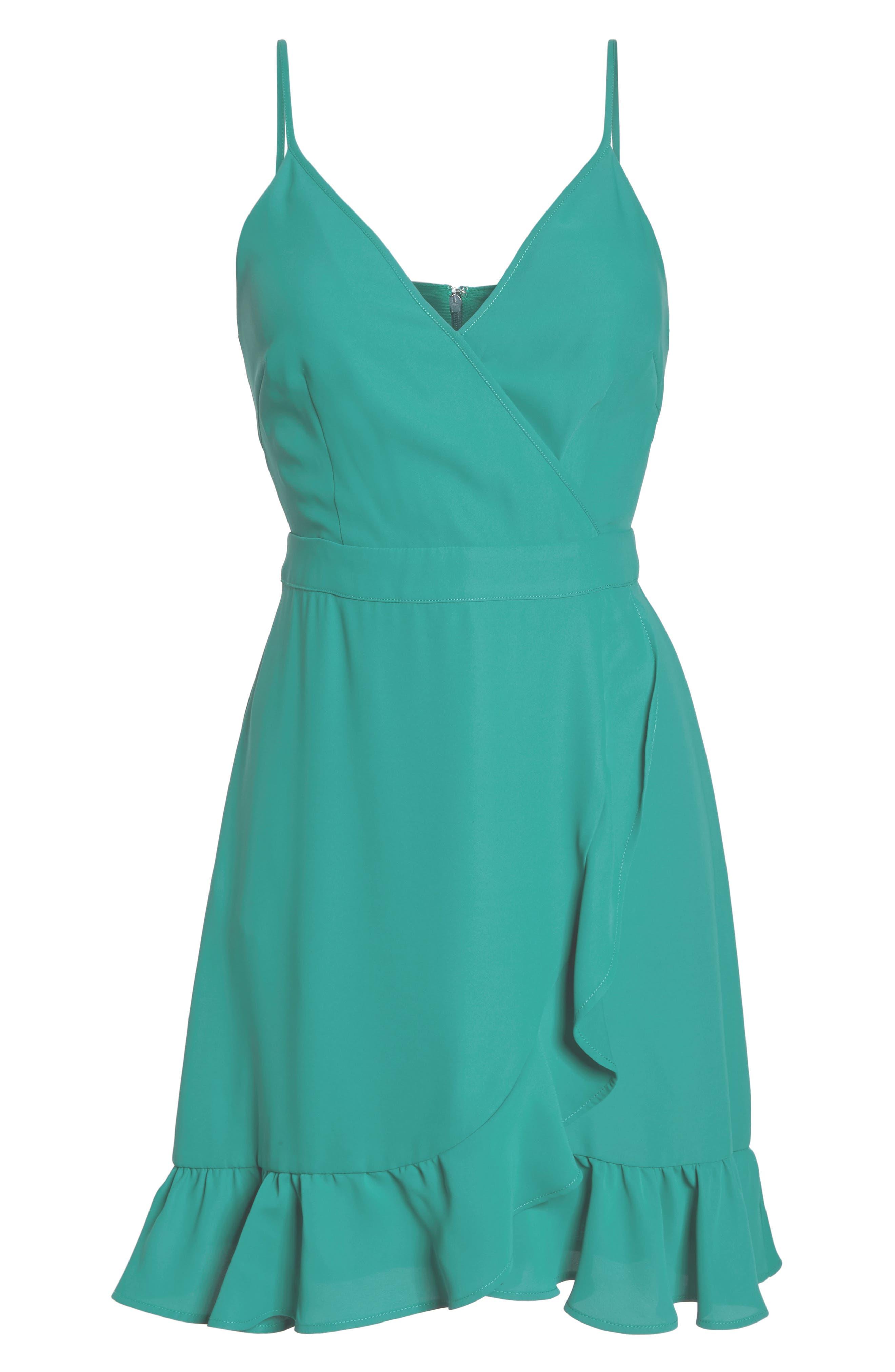 Crepe Skater Dress,                             Alternate thumbnail 7, color,                             Aquamarine