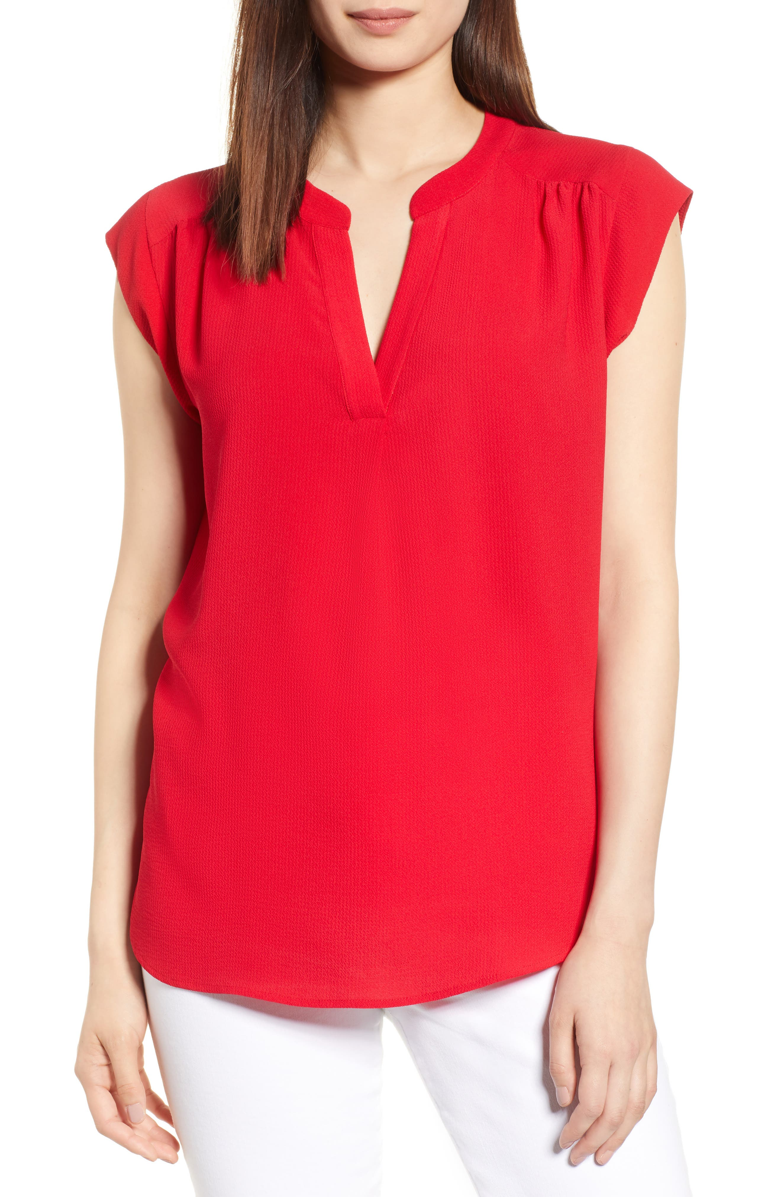 Split Neck Top,                         Main,                         color, Red Tomato