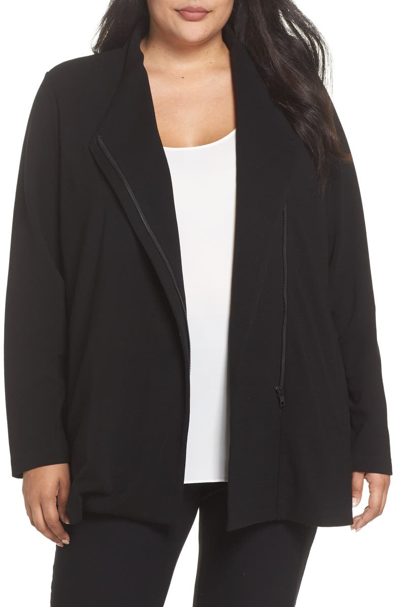 Leather Trim Ponte Knit Jacket
