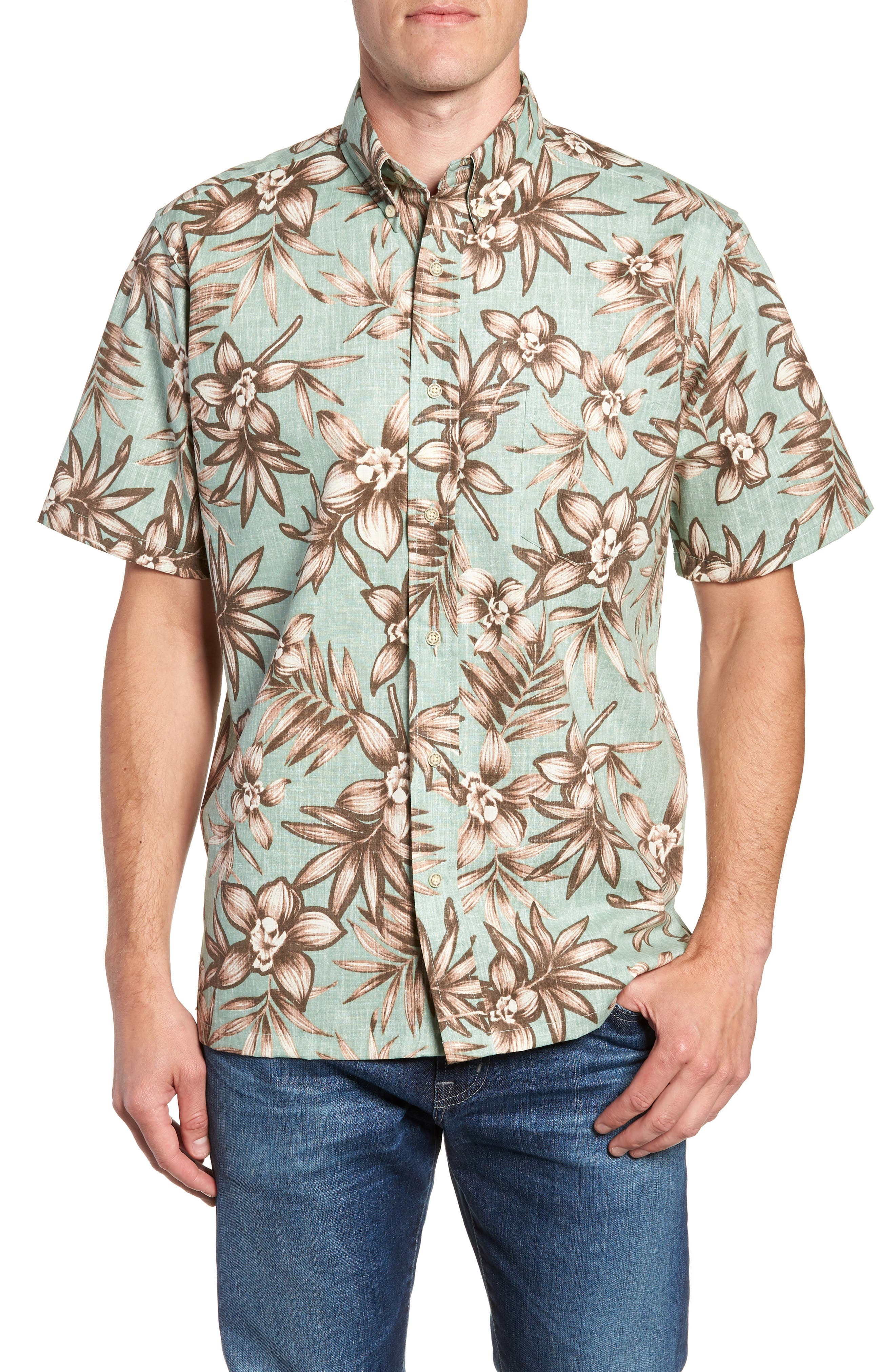 Onishi Garden Regular Fit Sport Shirt,                             Main thumbnail 1, color,                             Seafoam