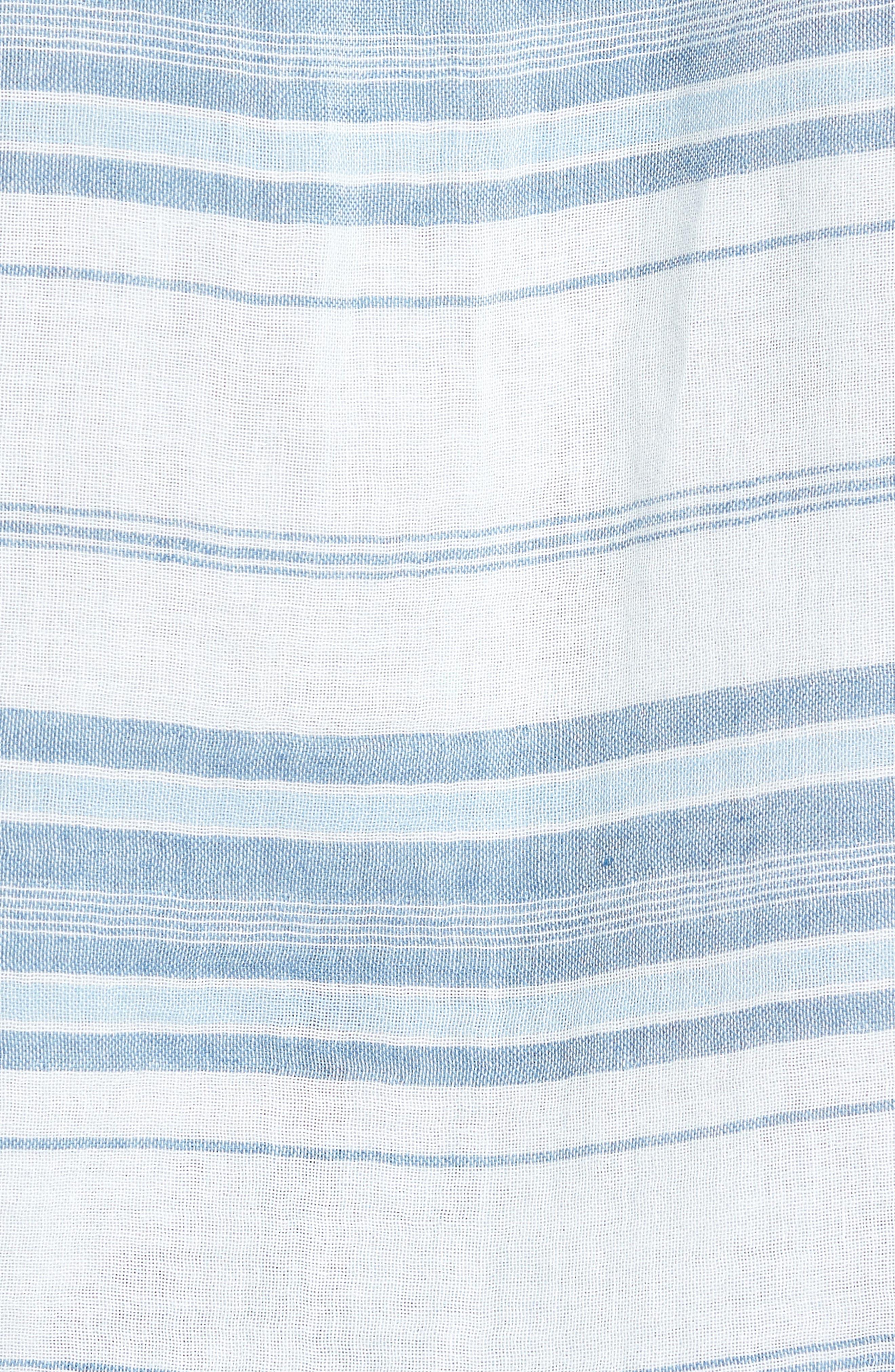 Ventura Double Cloth Short Sleeve Shirt,                             Alternate thumbnail 4, color,                             Light Indigo Serape