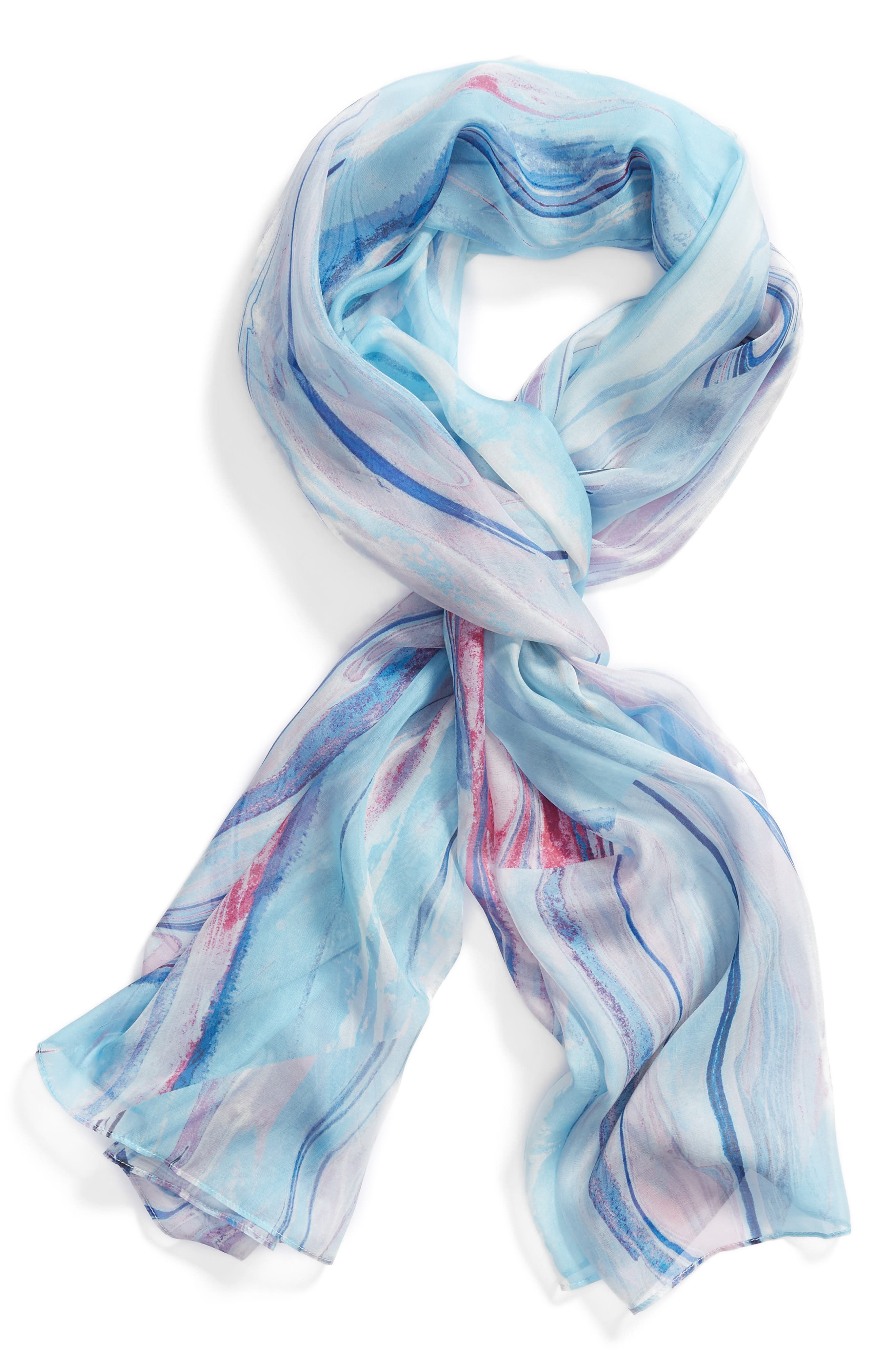 Silk Chiffon Oblong Scarf,                             Alternate thumbnail 2, color,                             Blue Marble Magic