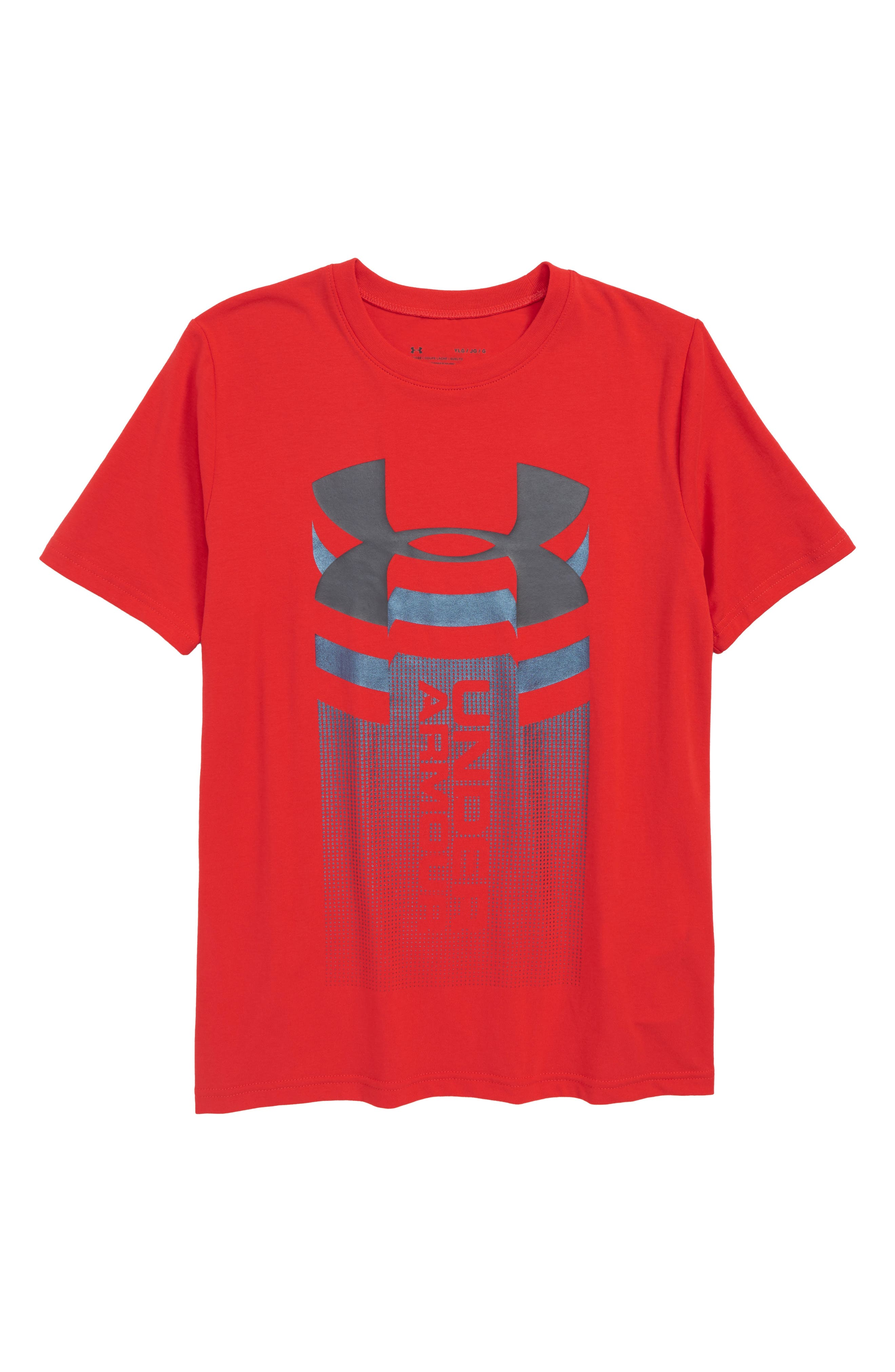 Vertical Graphic T-Shirt,                             Main thumbnail 1, color,                             Red/ Stealth Gray