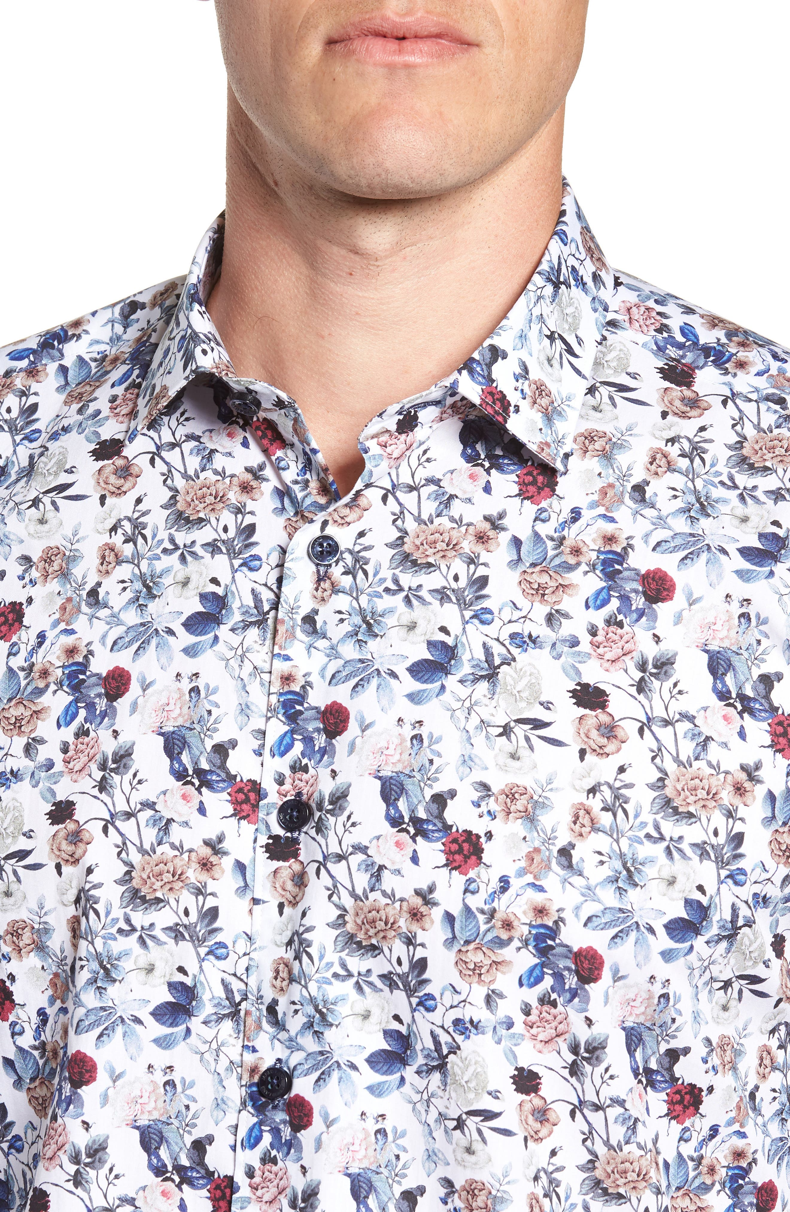 Floral Sport Shirt,                             Alternate thumbnail 2, color,                             White Navy Print