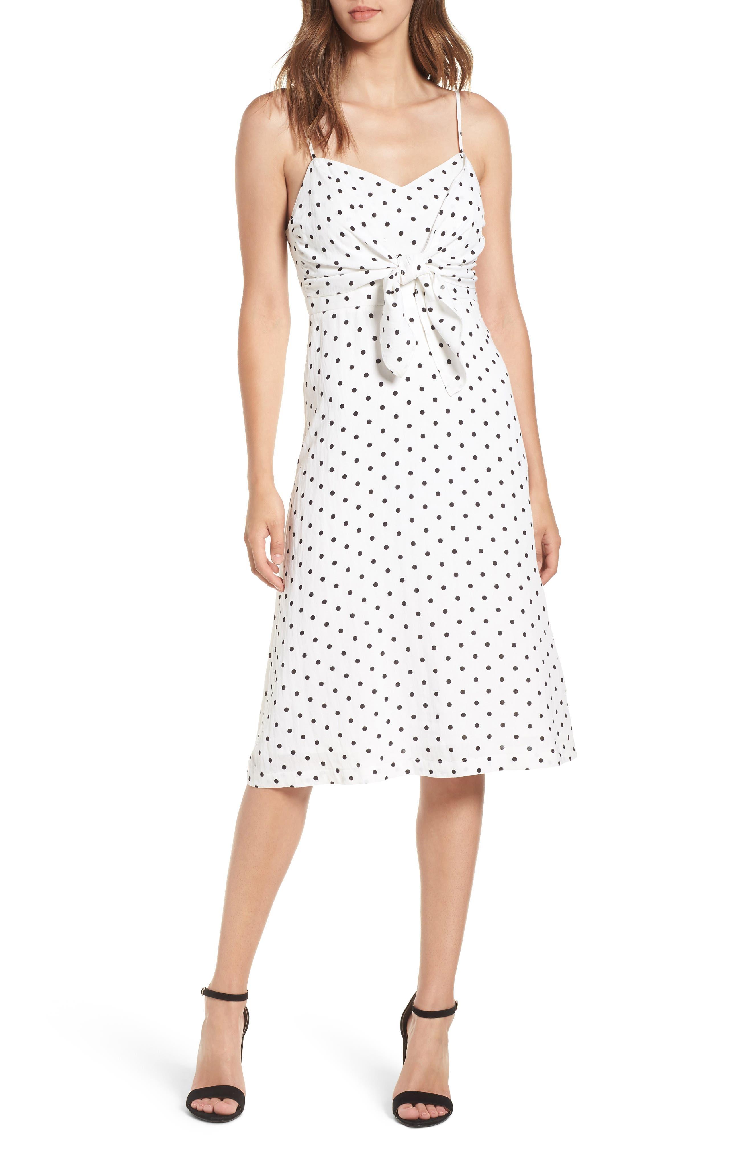 Stripe Tie Front Midi Dress,                         Main,                         color, White Polka Dot