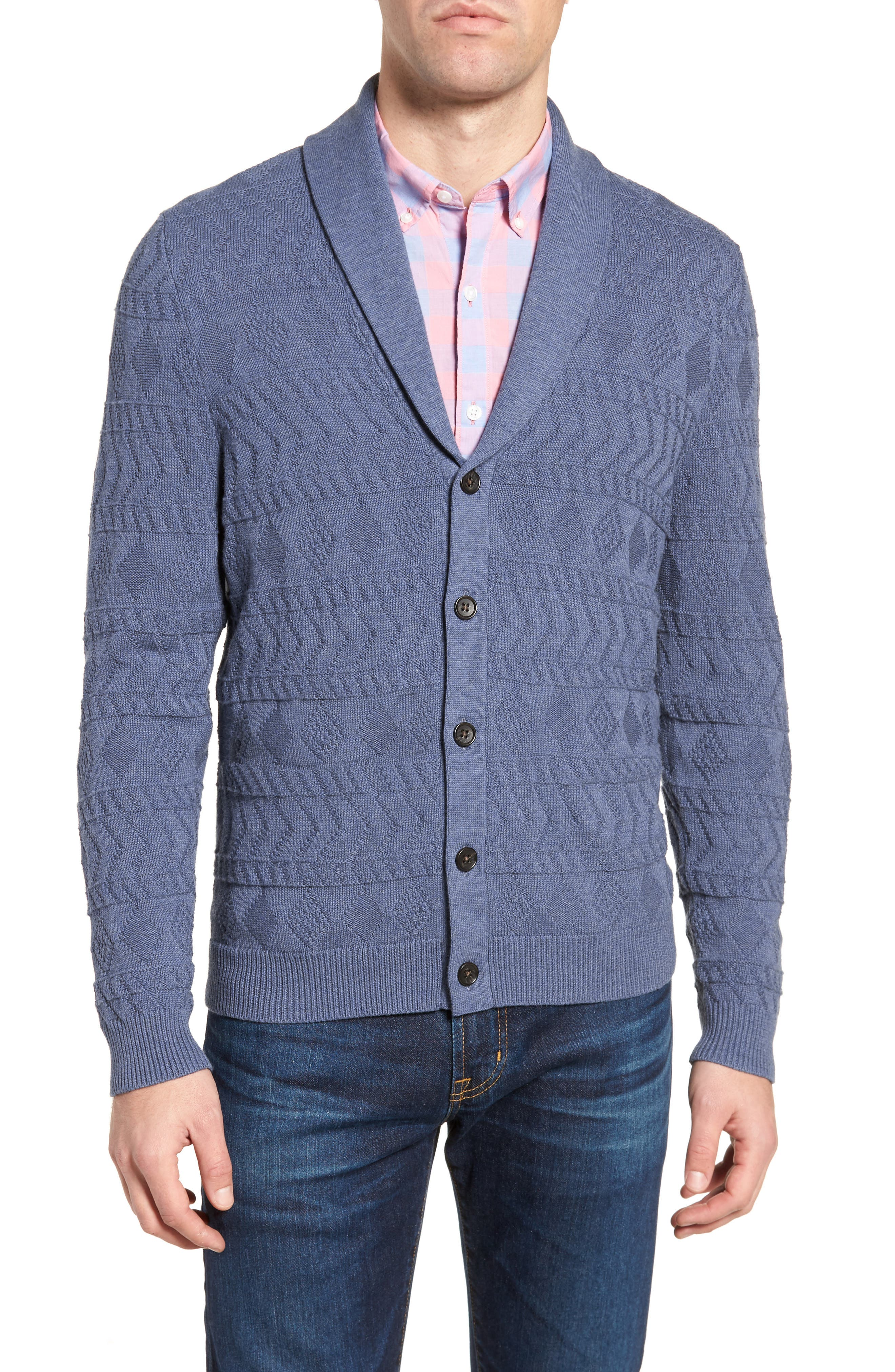 Shawl Collar Cardigan,                         Main,                         color, Blue Dark