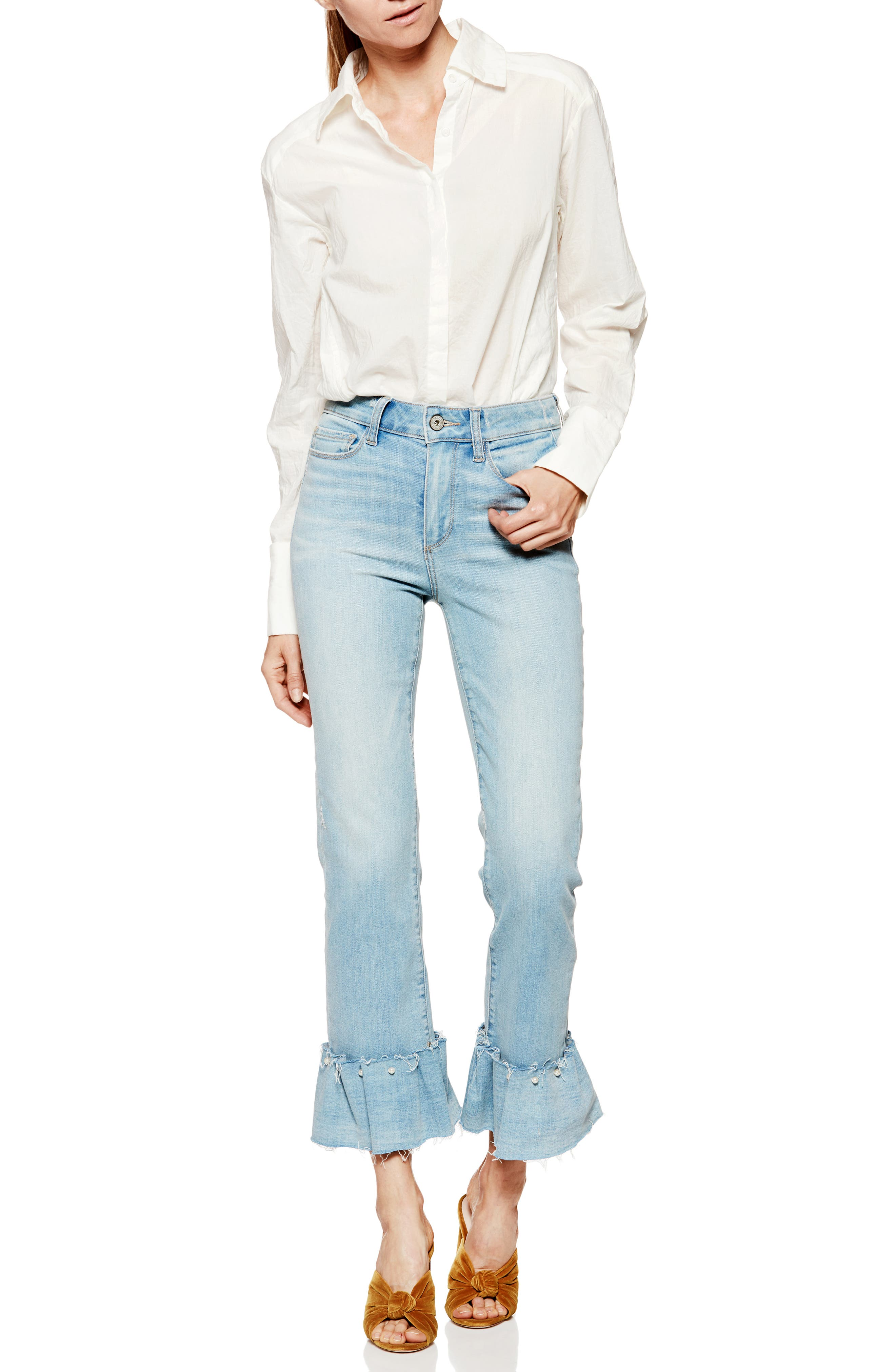 Transcend Vintage - Hoxton Embellished Ruffle High Waist Jeans,                             Alternate thumbnail 3, color,                             Palms