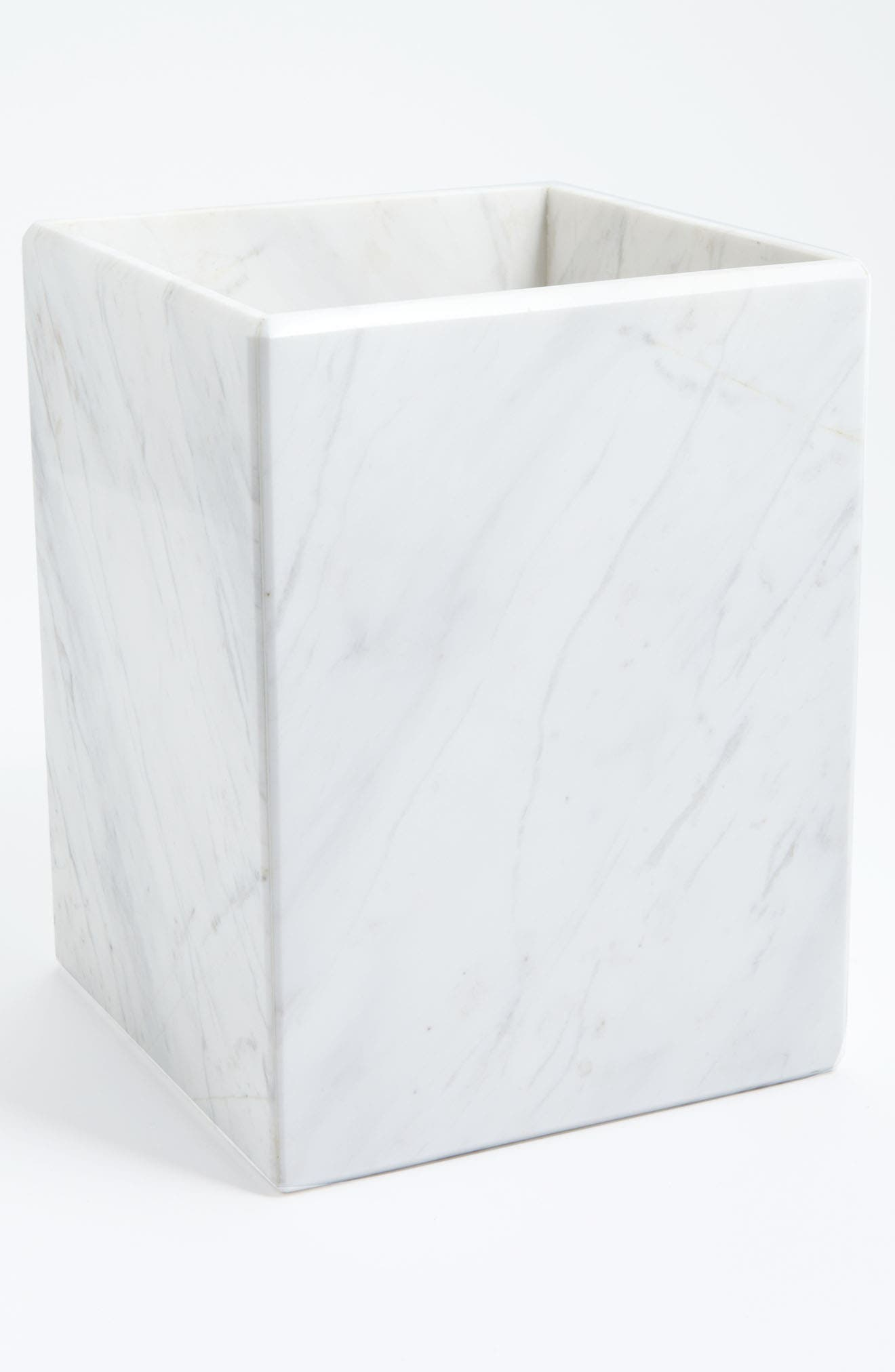 Studio 'Luna' White Marble Wastebasket,                             Main thumbnail 1, color,                             White