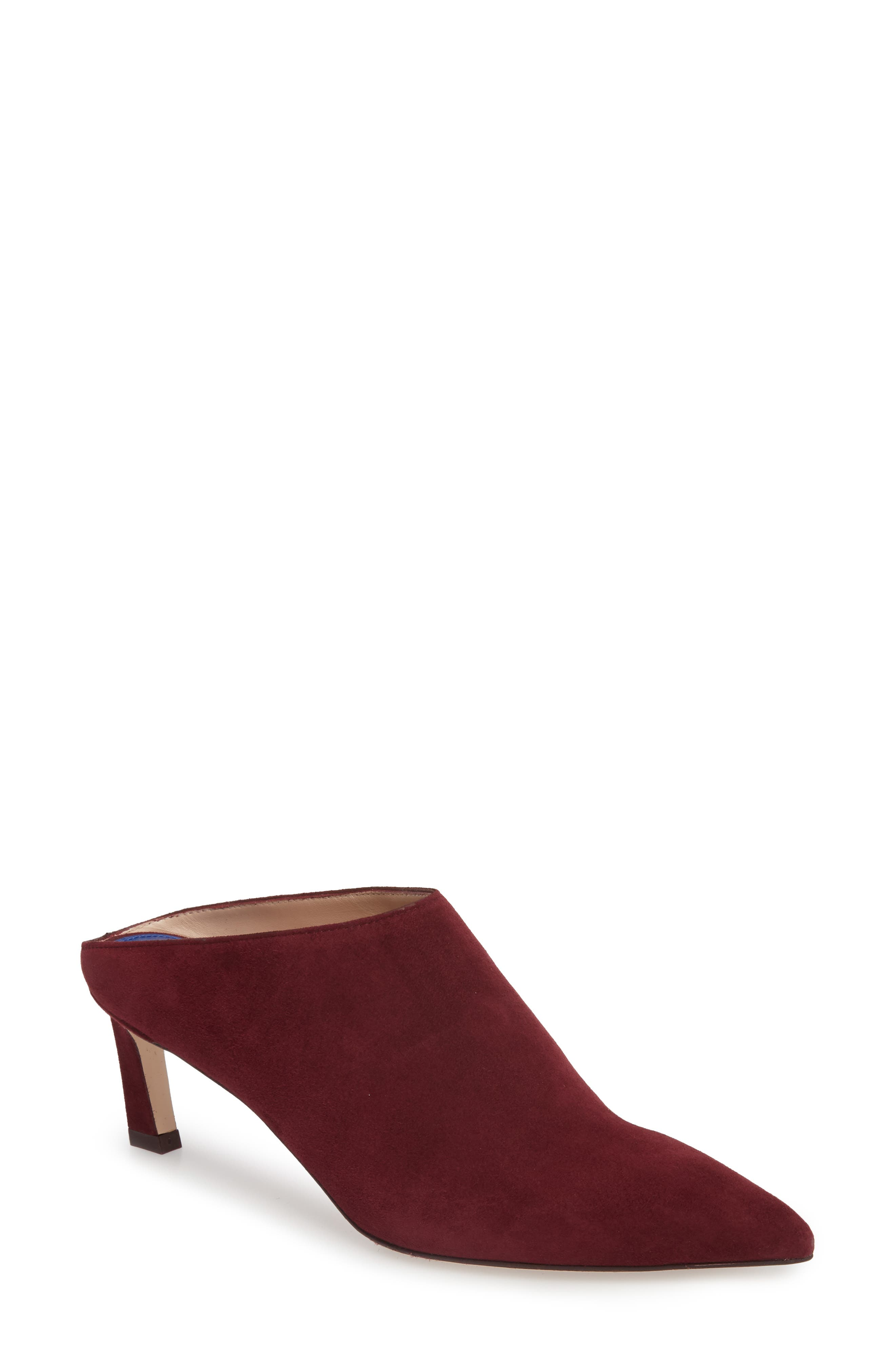 Mira Pointy Toe Mule,                             Main thumbnail 1, color,                             Cabernet Suede