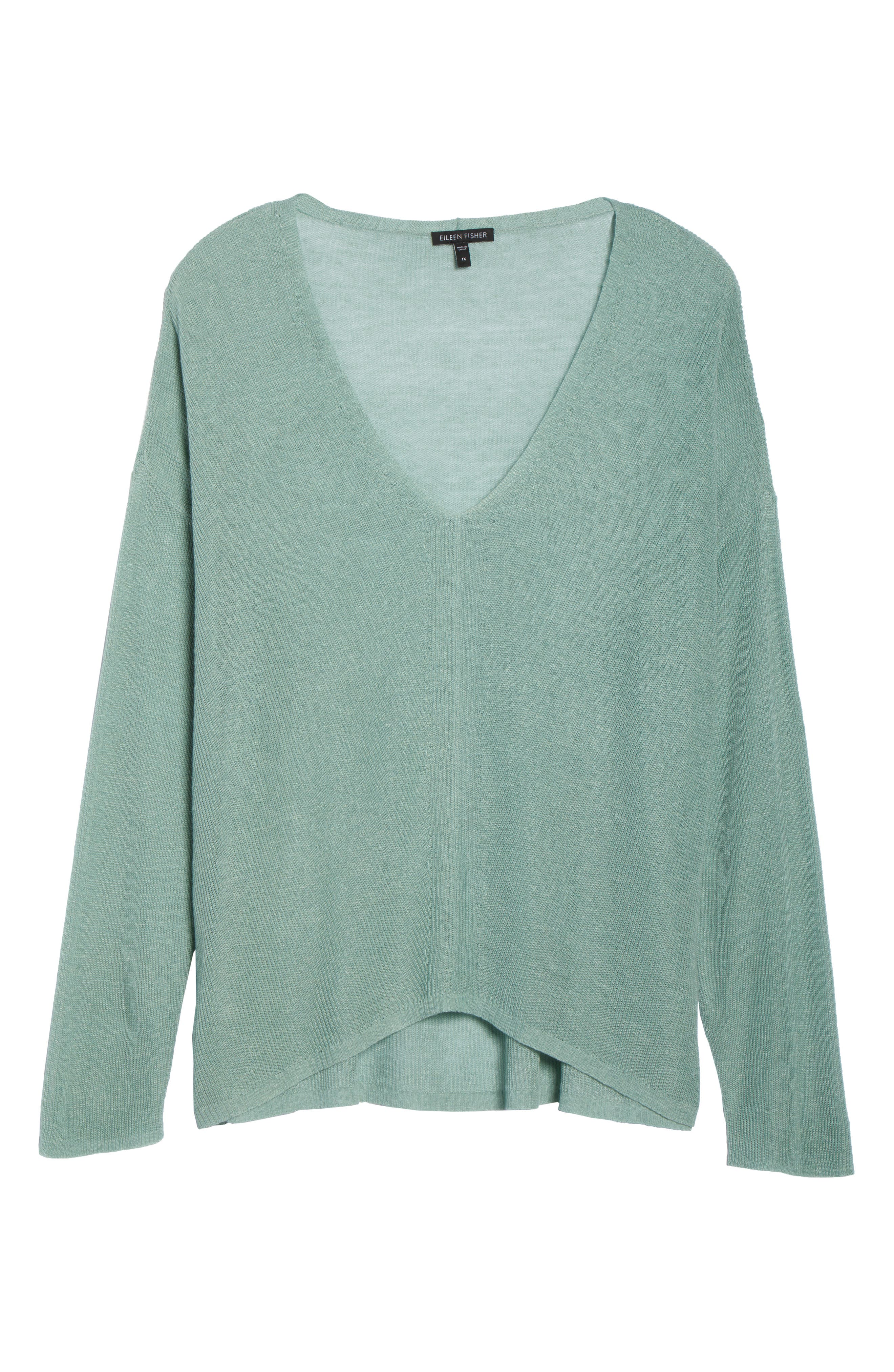 Boxy Organic Linen Blend Sweater,                             Alternate thumbnail 6, color,                             Elm