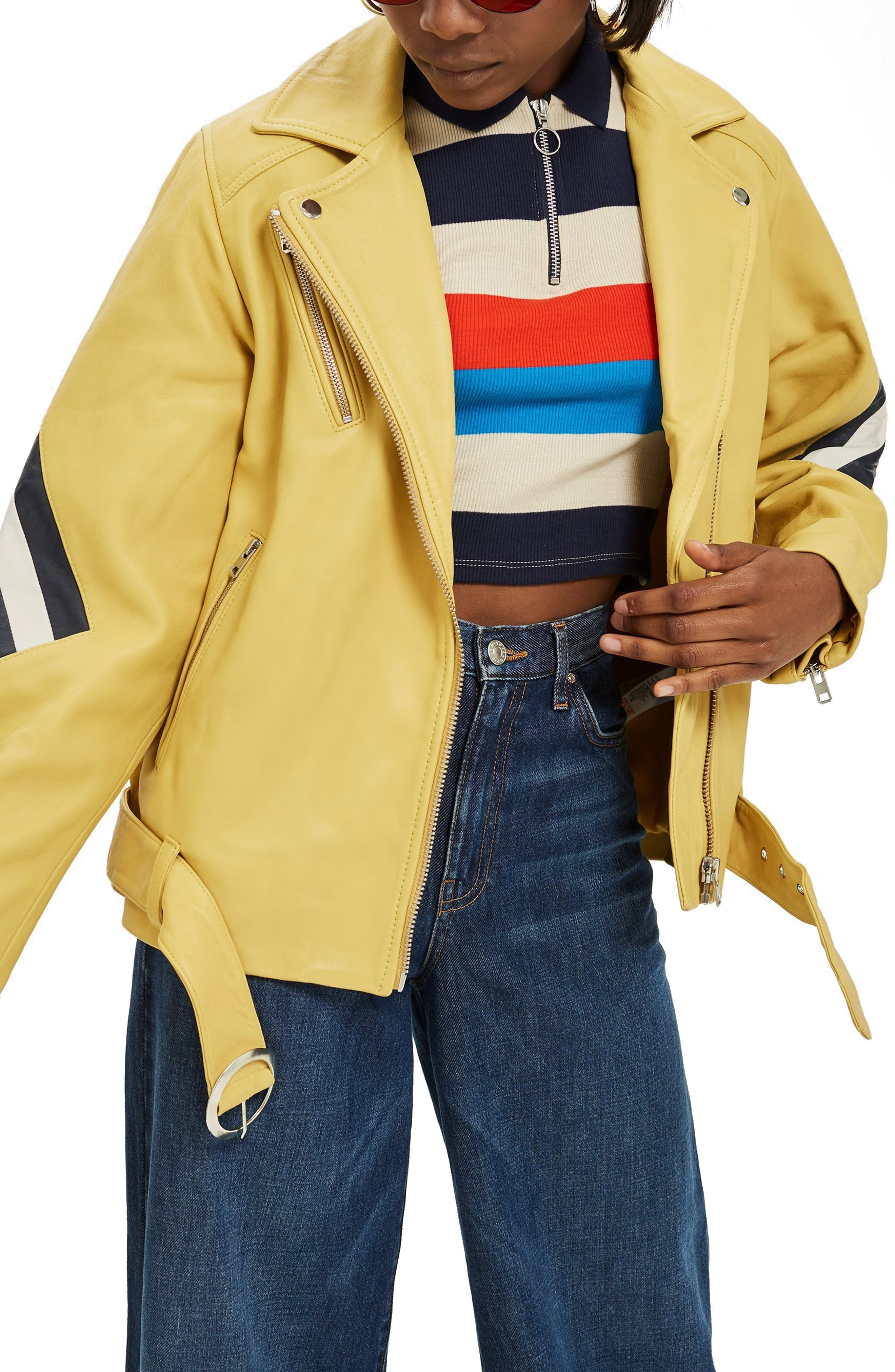 Strobe Leather Jacket,                             Main thumbnail 1, color,                             Yellow Multi
