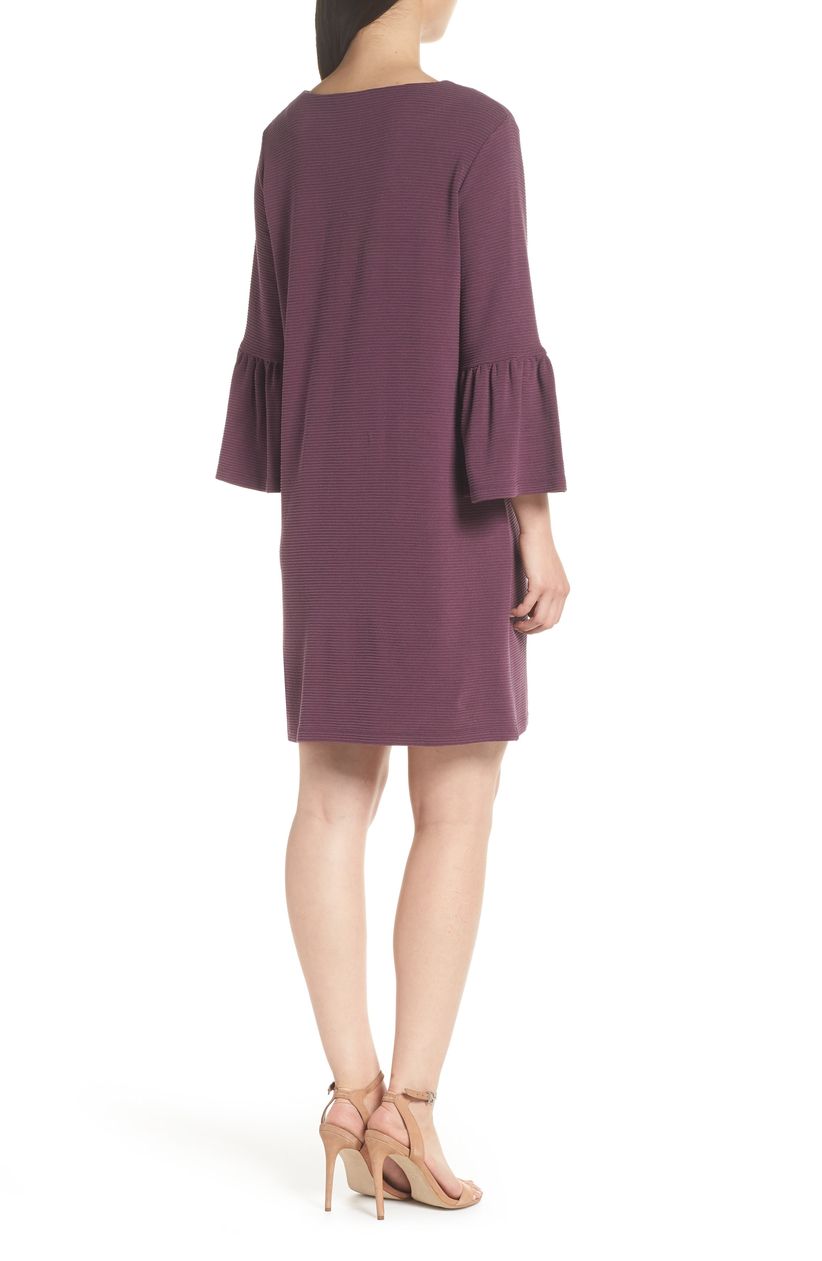 Paros Sudan Bell Sleeve Shift Dress,                             Alternate thumbnail 2, color,                             Plum Noir