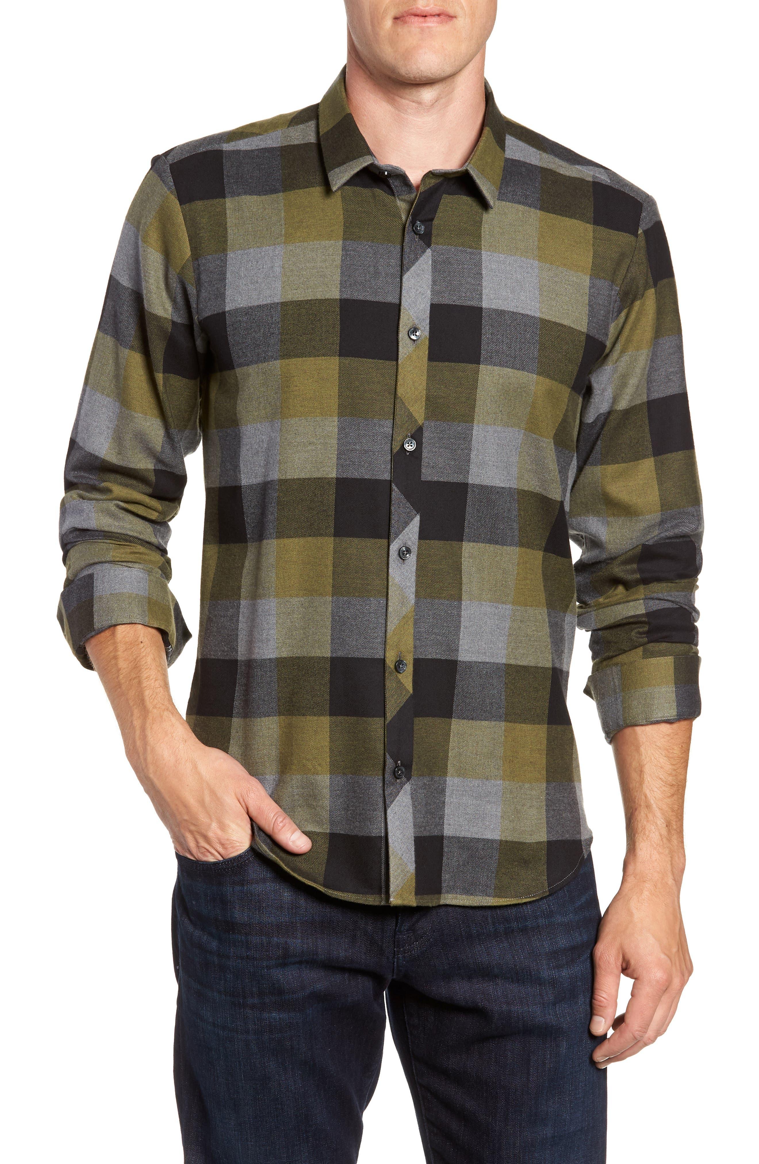 Check Sport Shirt,                             Main thumbnail 1, color,                             Olive Green Check