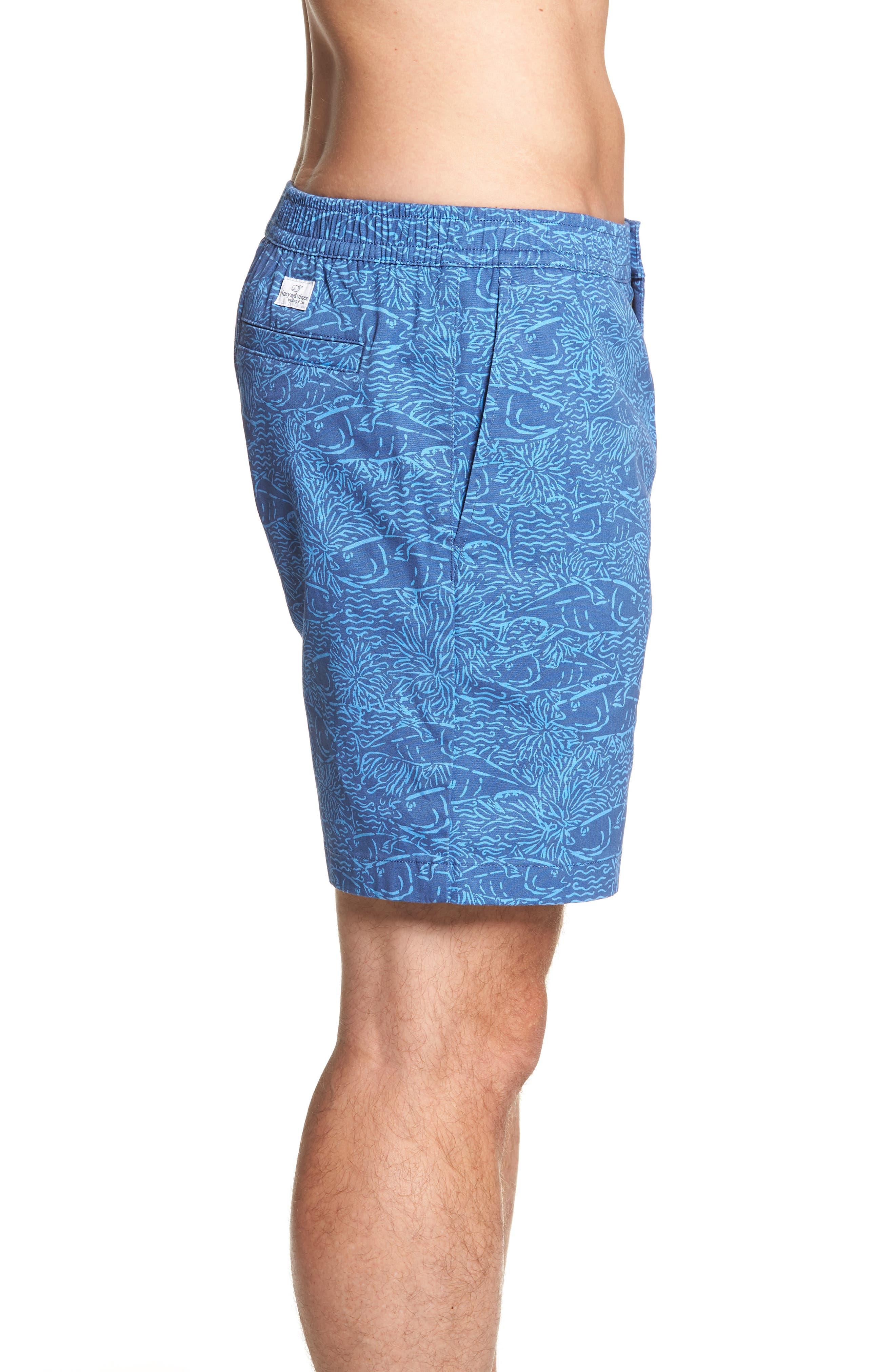 Jetty Print Stretch Cotton Shorts,                             Alternate thumbnail 5, color,                             Moonshine
