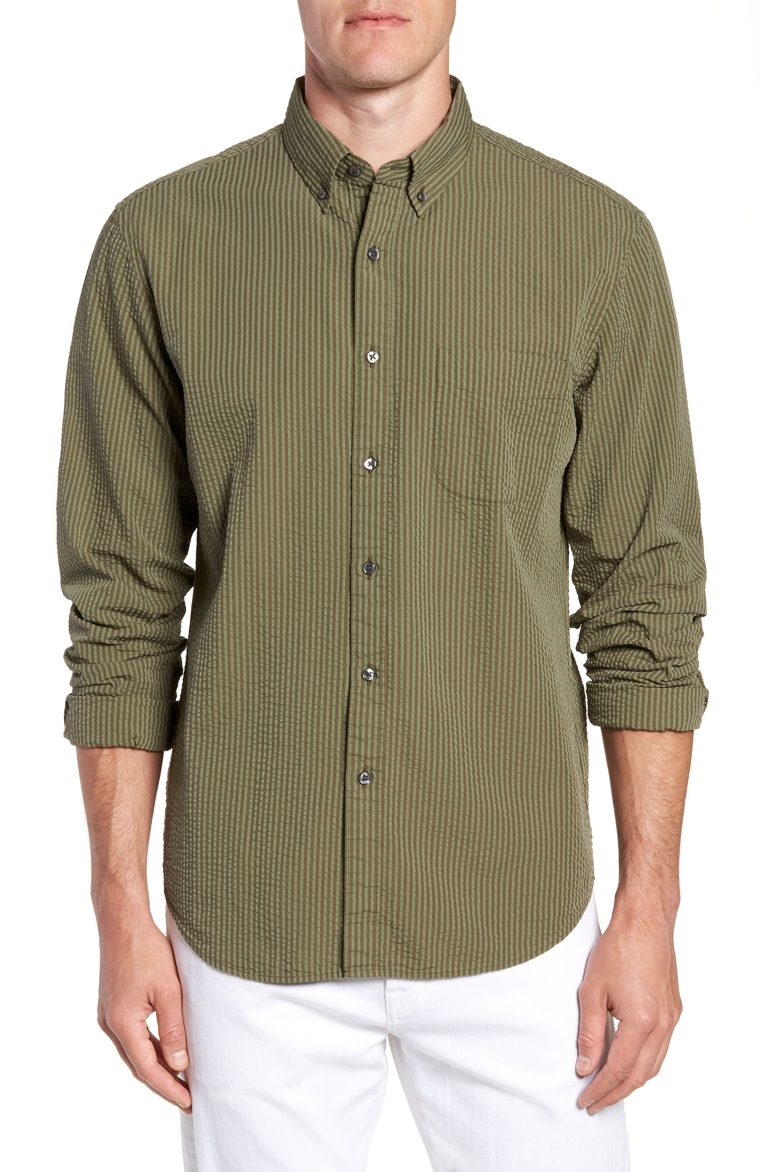 Slim Fit Stripe Seersucker Sport Shirt,                             Main thumbnail 1, color,                             Surplus Wx2234
