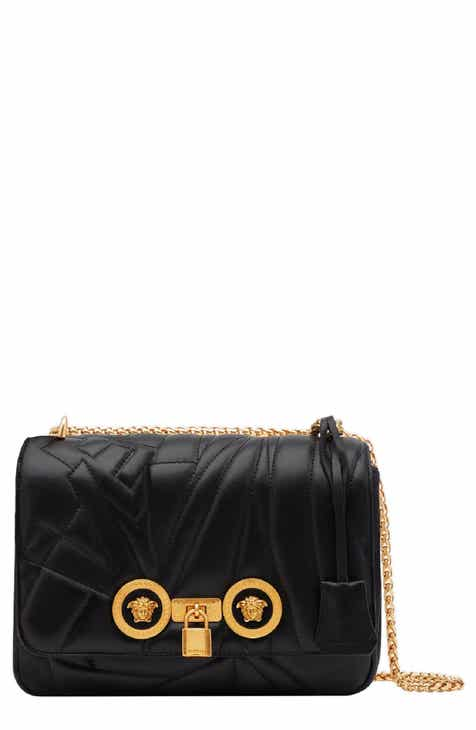 26bad300550 Versace Icon Logo Quilted Leather Shoulder Bag