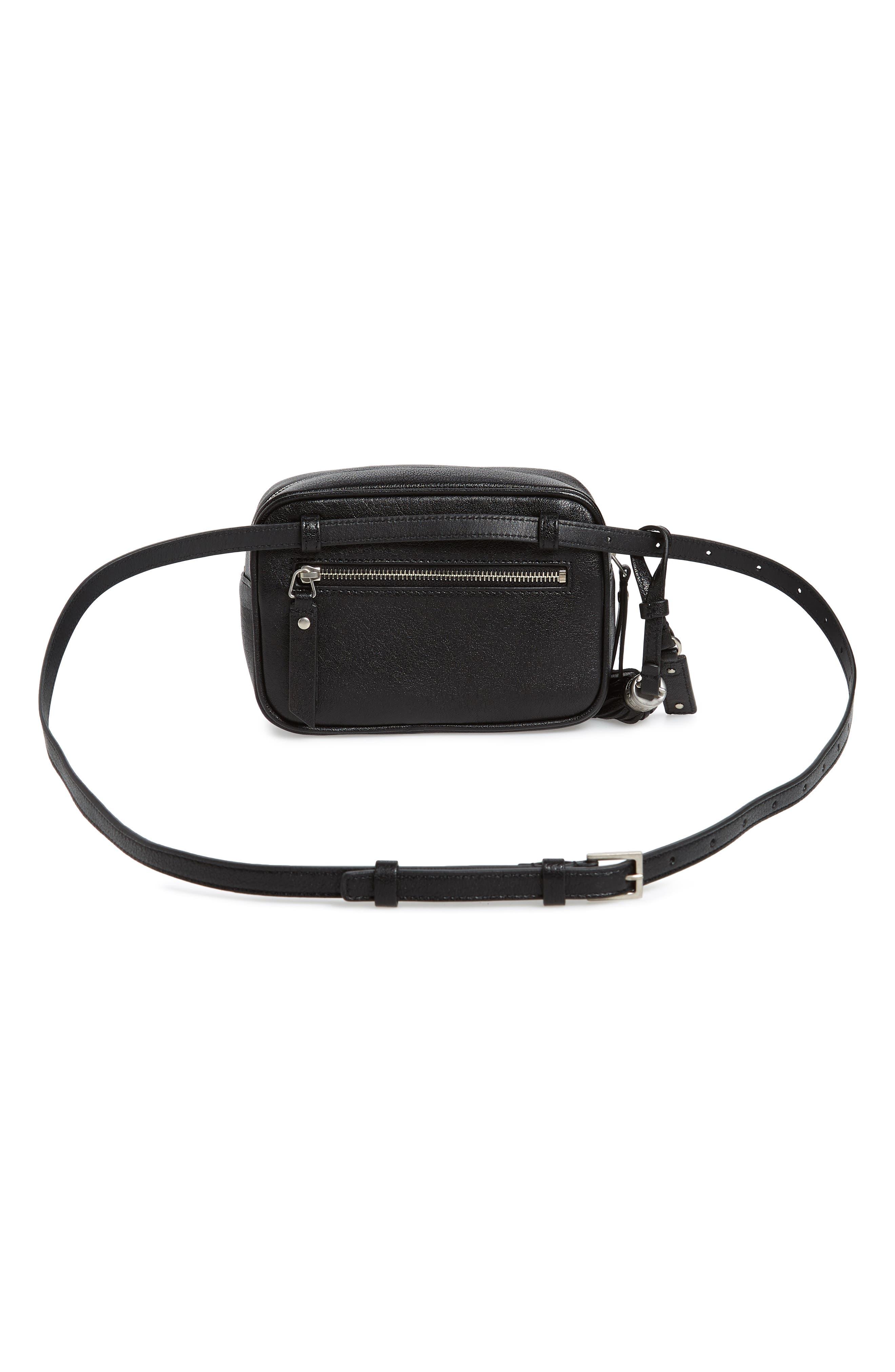 Loulou Tassel Leather Belt Bag,                             Alternate thumbnail 4, color,                             Noir