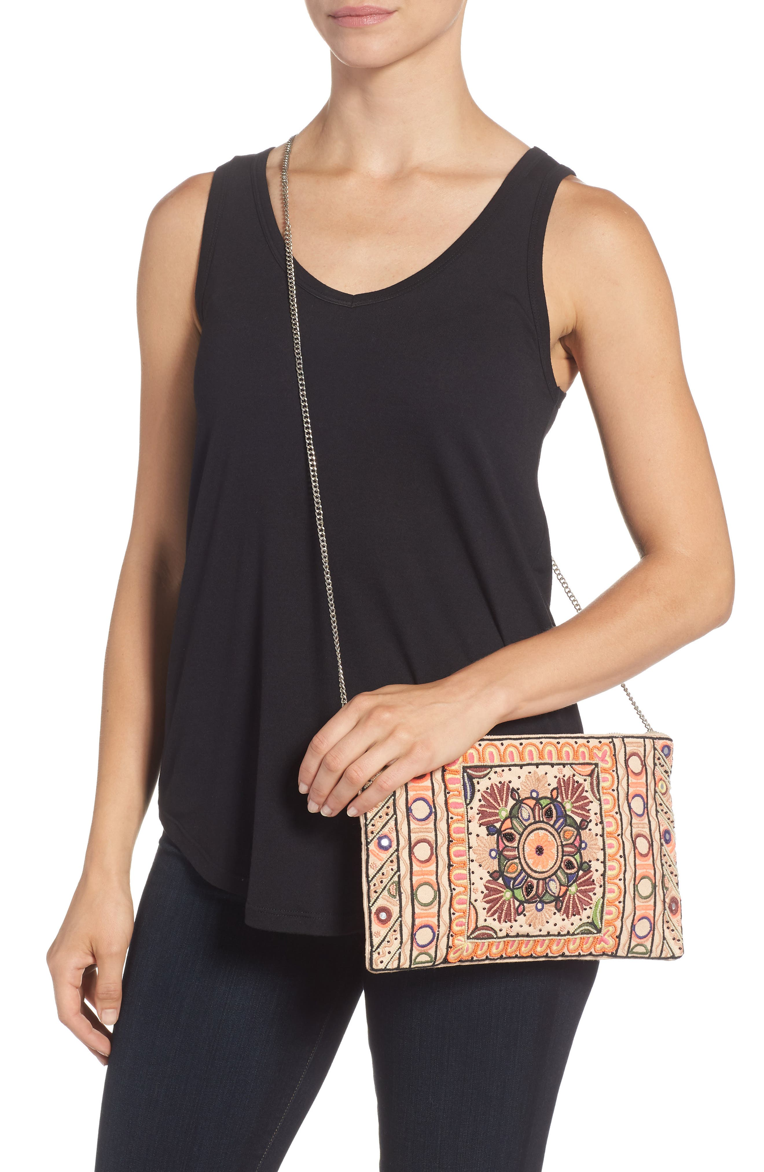Embroidered Zip Clutch,                             Alternate thumbnail 2, color,                             Pink Multi