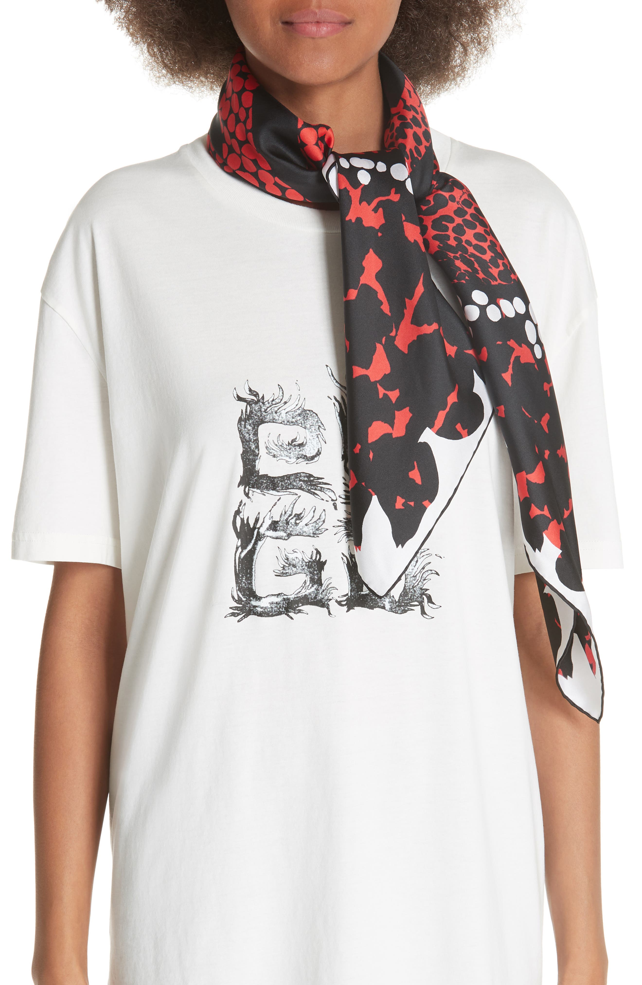 4G Patchwork Silk Scarf,                         Main,                         color, White/ Red