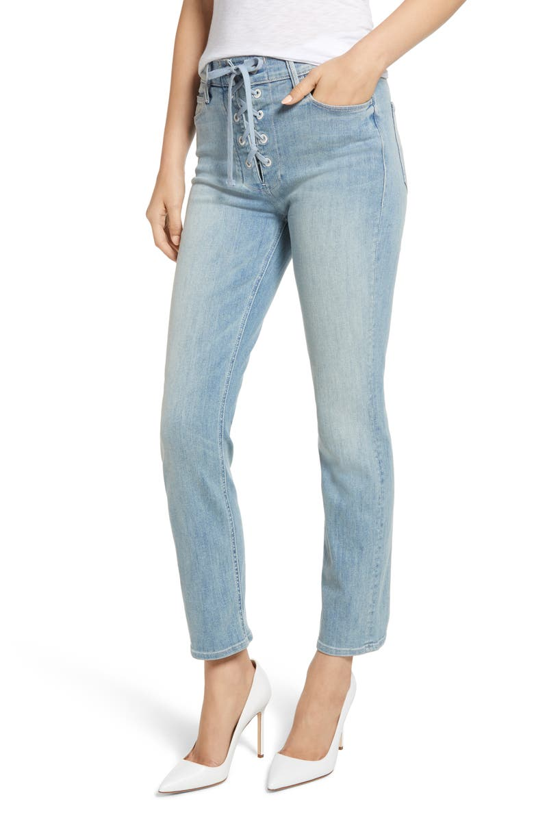The Lace-Up Dazzler High Waist Ankle Straight Leg Jeans