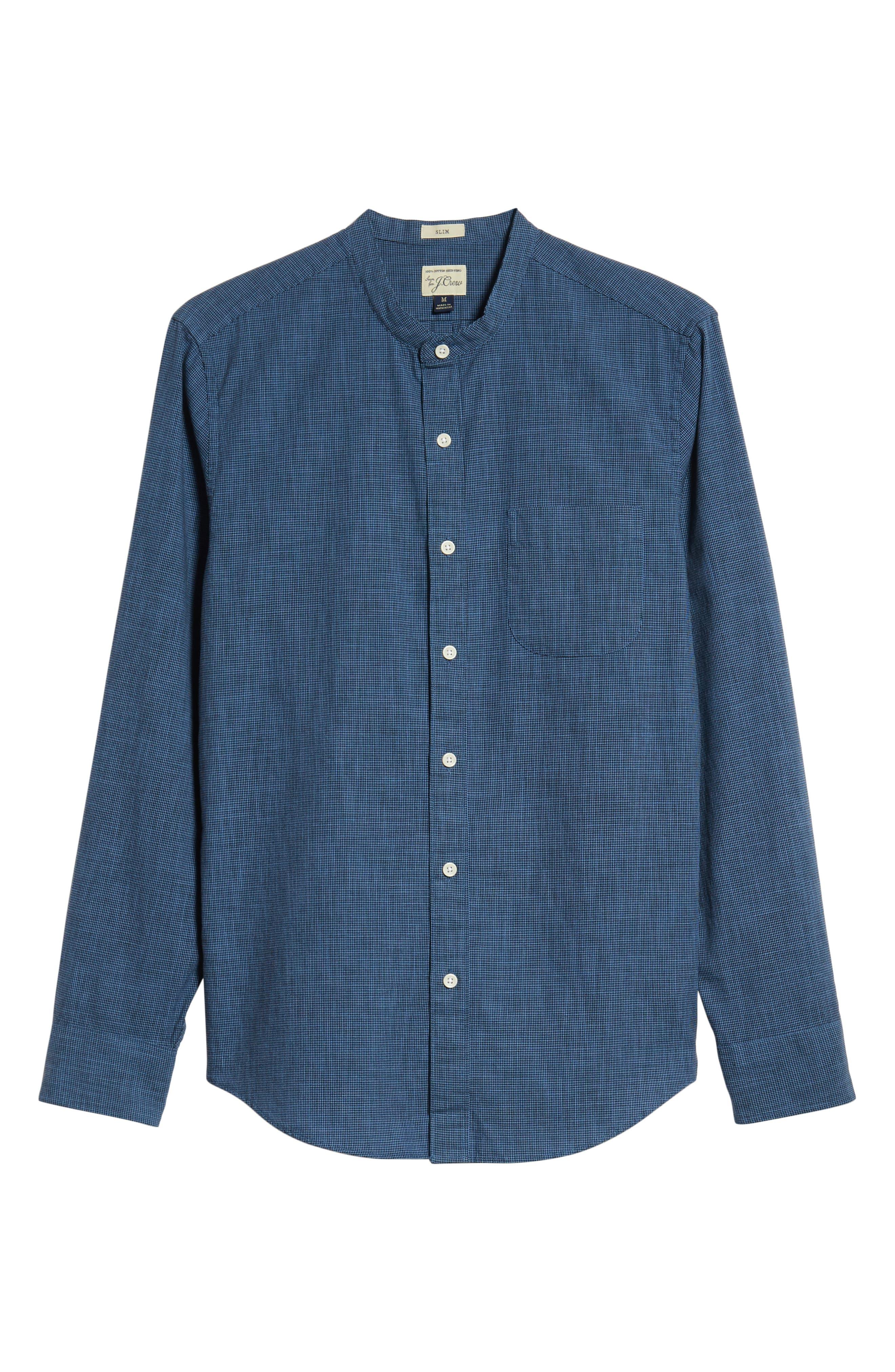 Slim Fit Band Collar Shirt,                             Alternate thumbnail 6, color,                             Dark Evening