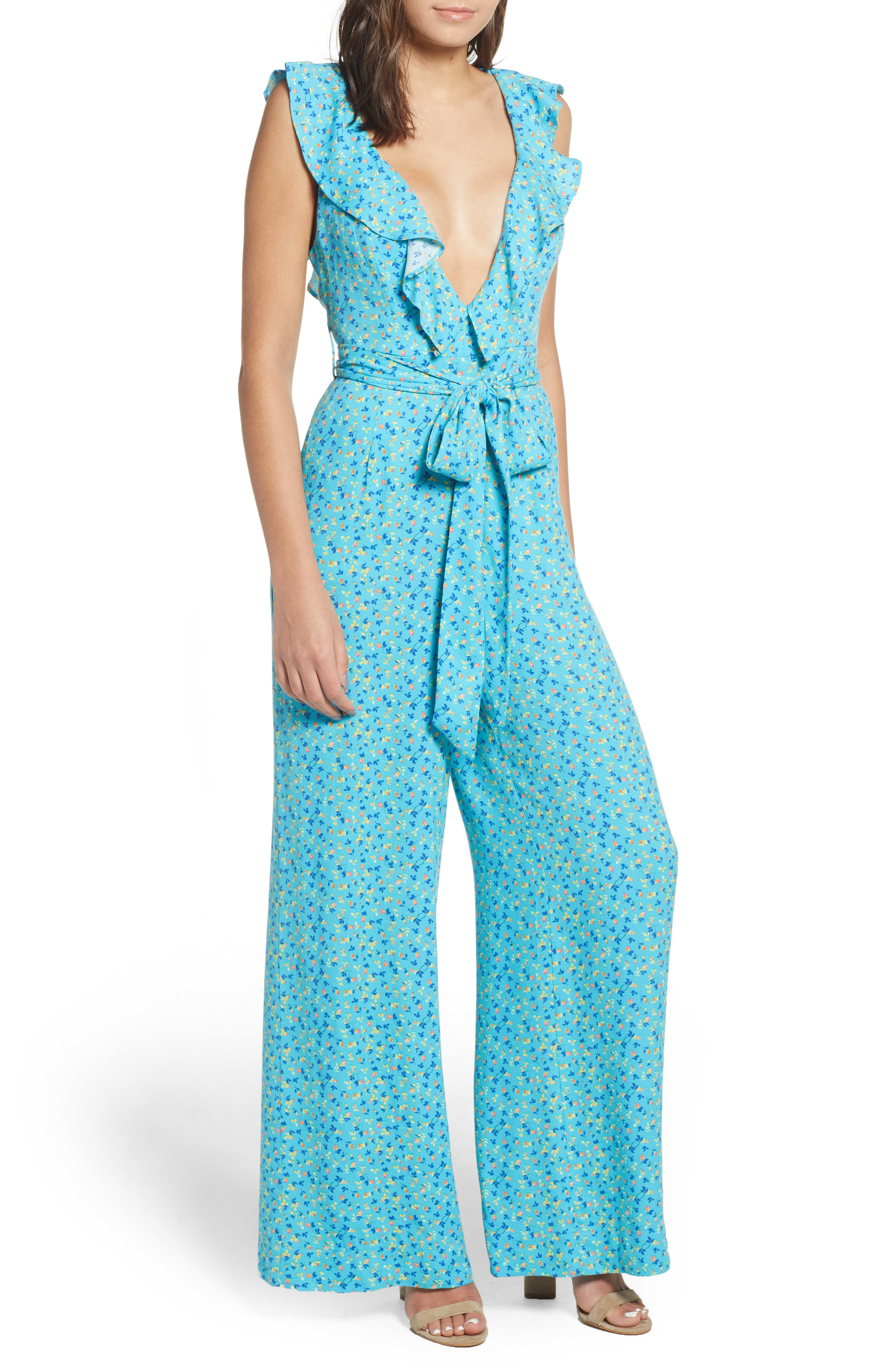 Evelyn Jumpsuit,                         Main,                         color, Blue Ditsy